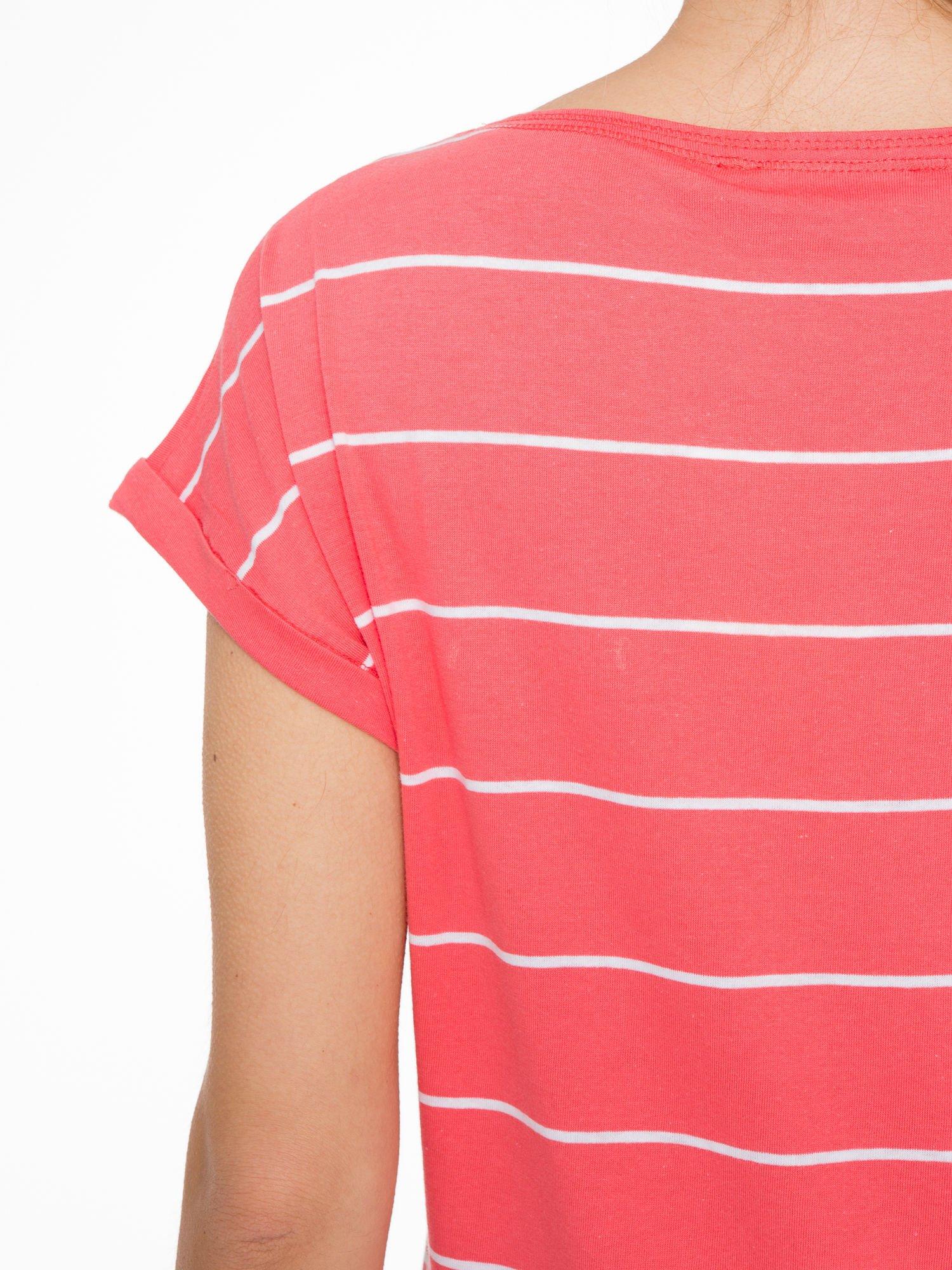 Koralowy t-shirt w paski                                   zdj.                                  8