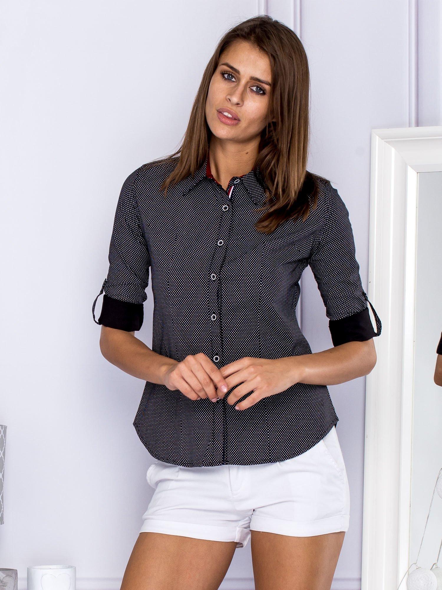 98c382f75331ec Koszula damska w groszki czarna - Koszula klasyczna - sklep eButik.pl