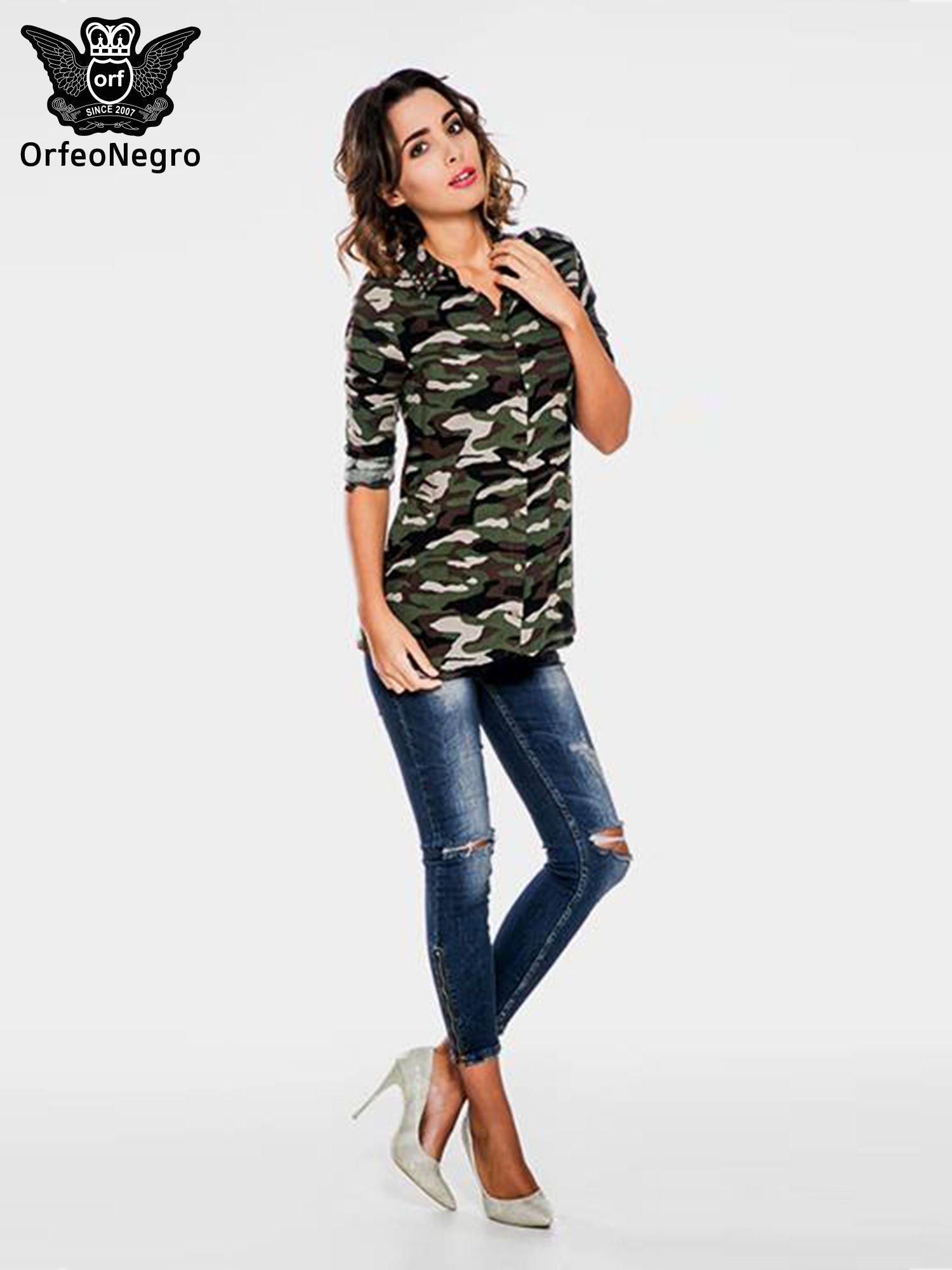 Koszula damska we wzór moro z ćwiekami na kołnierzyku                                  zdj.                                  2