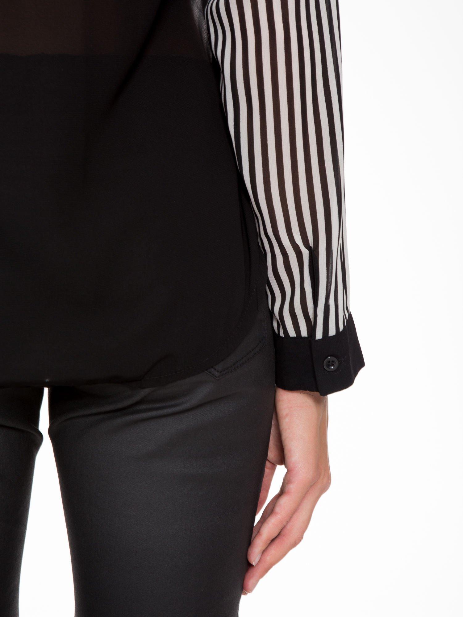 Koszula mgiełka w paski z kontrastową kieszonką, mankietami i kołnierzykiem                                  zdj.                                  6