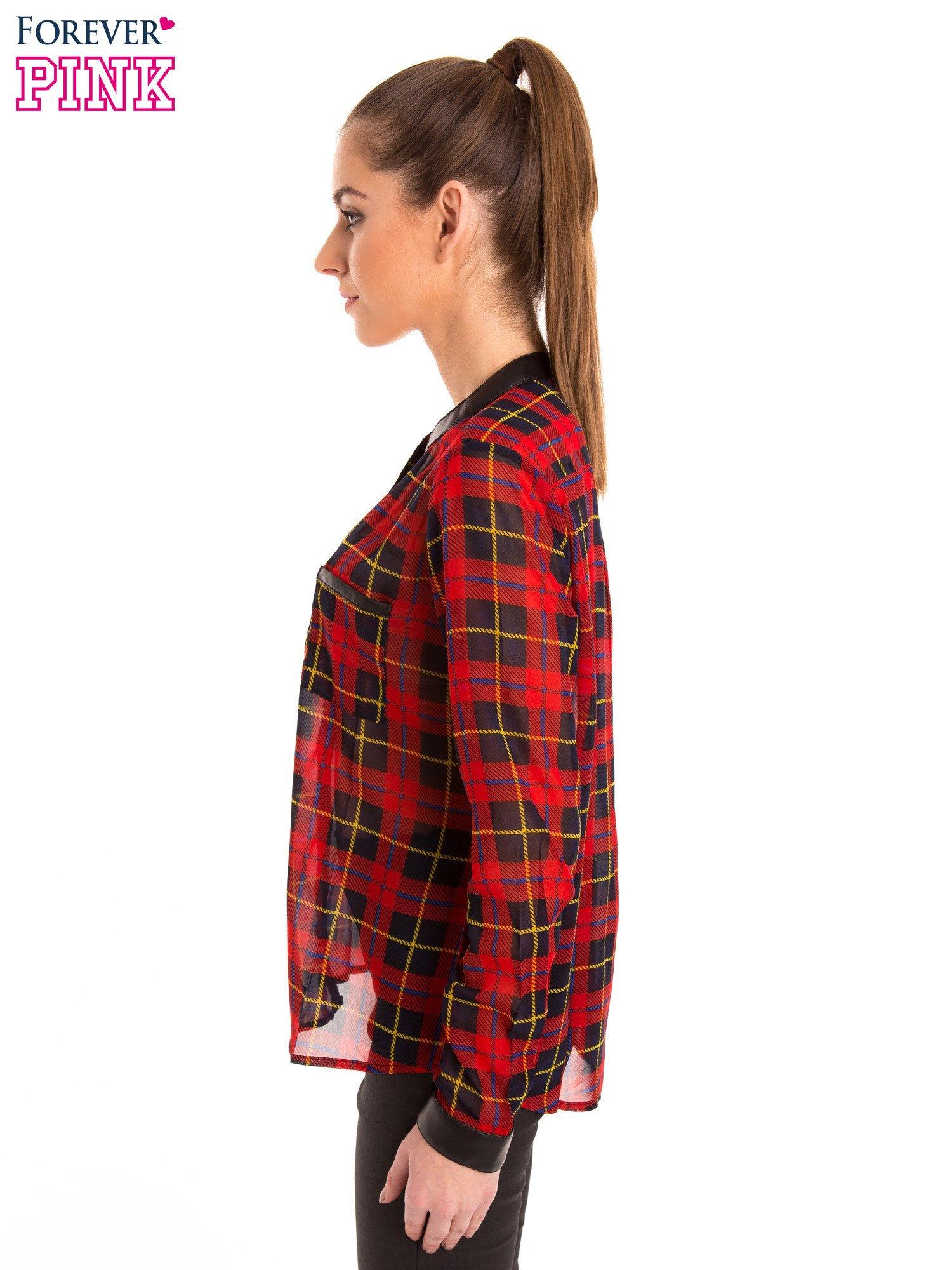 Koszula w czerwoną kratę ze skórzaną lamówką                                  zdj.                                  3