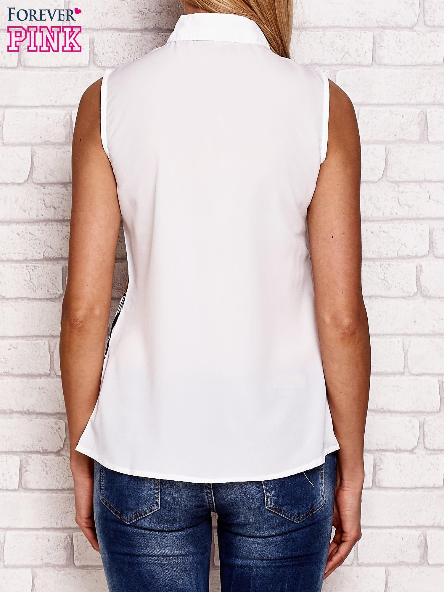 Koszula z kobiecym nadrukiem biała