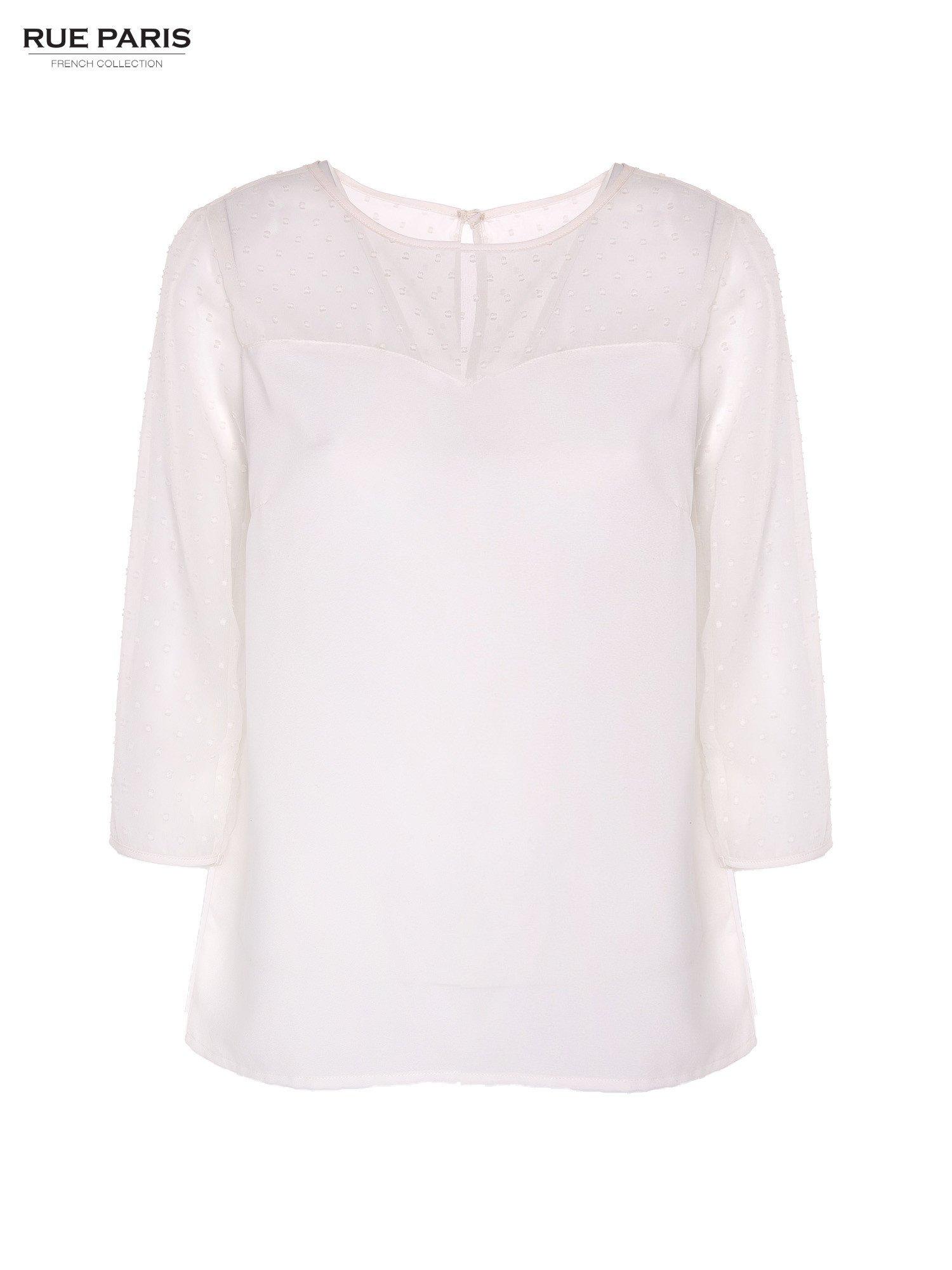 Koszula z przezroczystym materiałem w groszki w kolorze ecru                                  zdj.                                  4