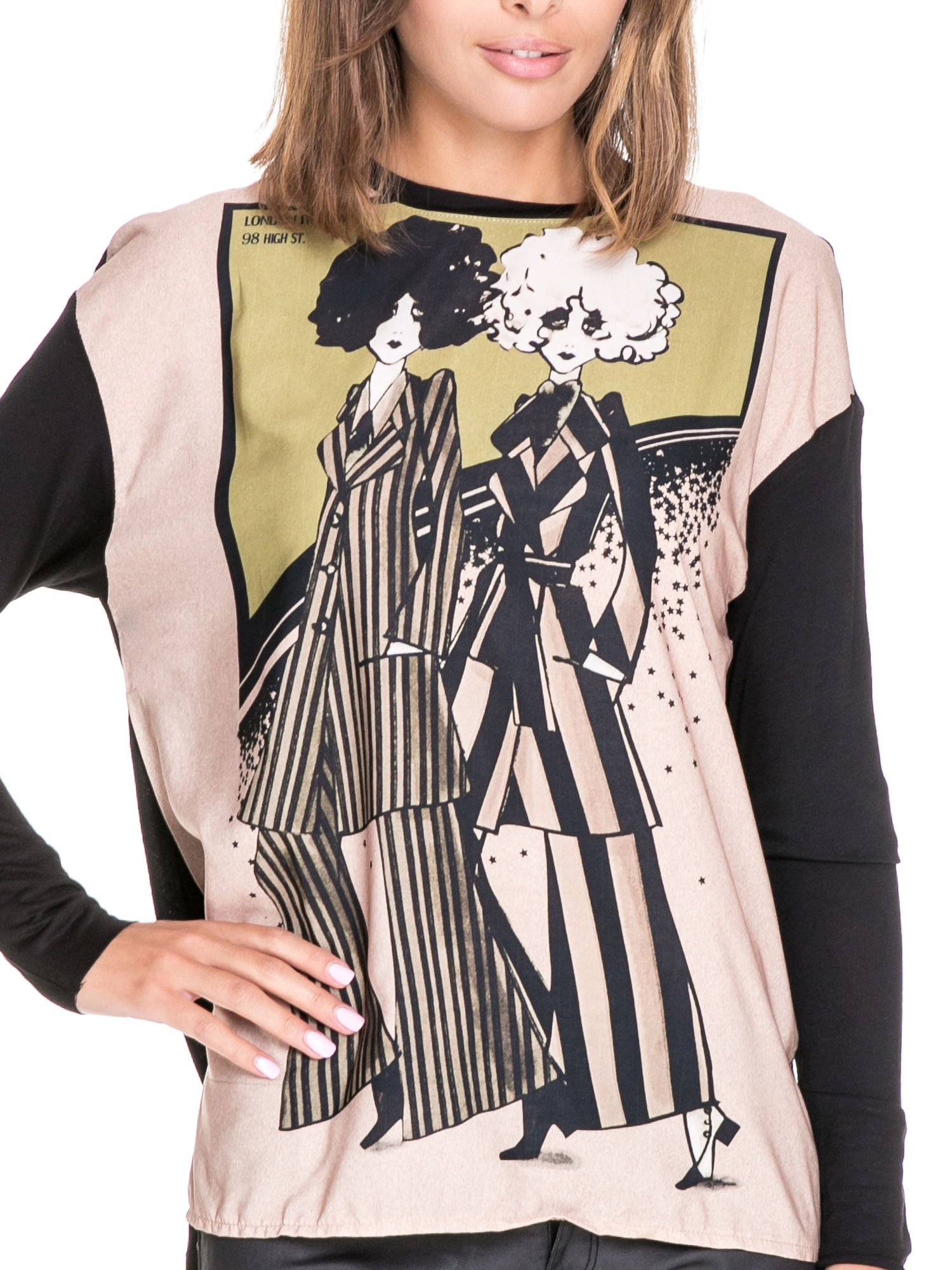Koszula z satynowym przodem i nadrukiem kobiet                                  zdj.                                  5