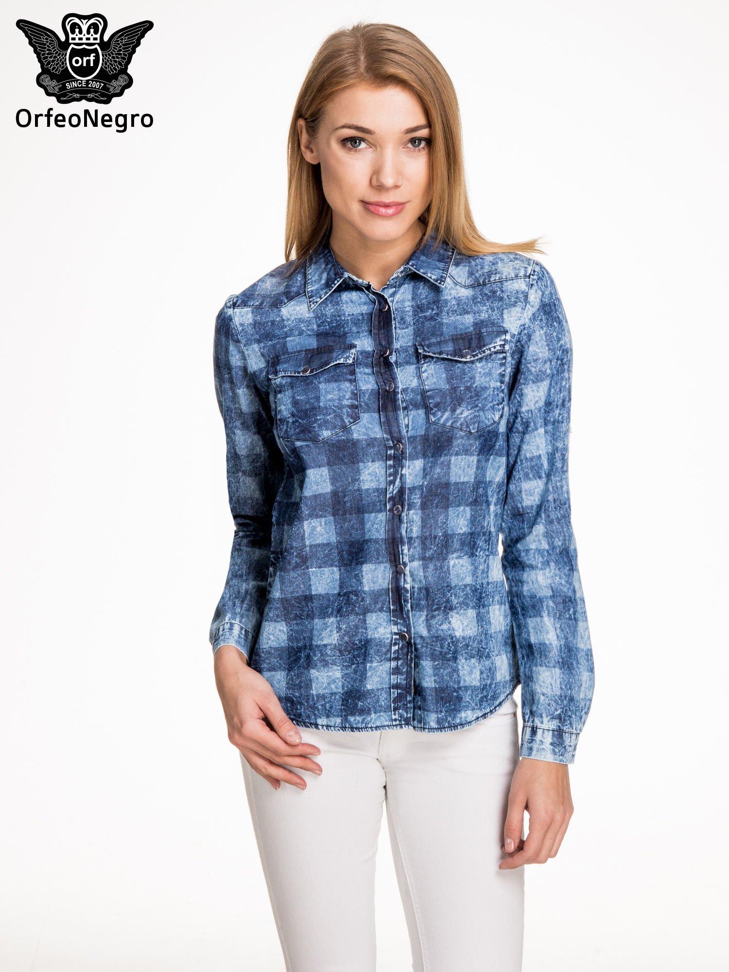 Kraciasta marmurkowa koszula z jeansu                                  zdj.                                  1