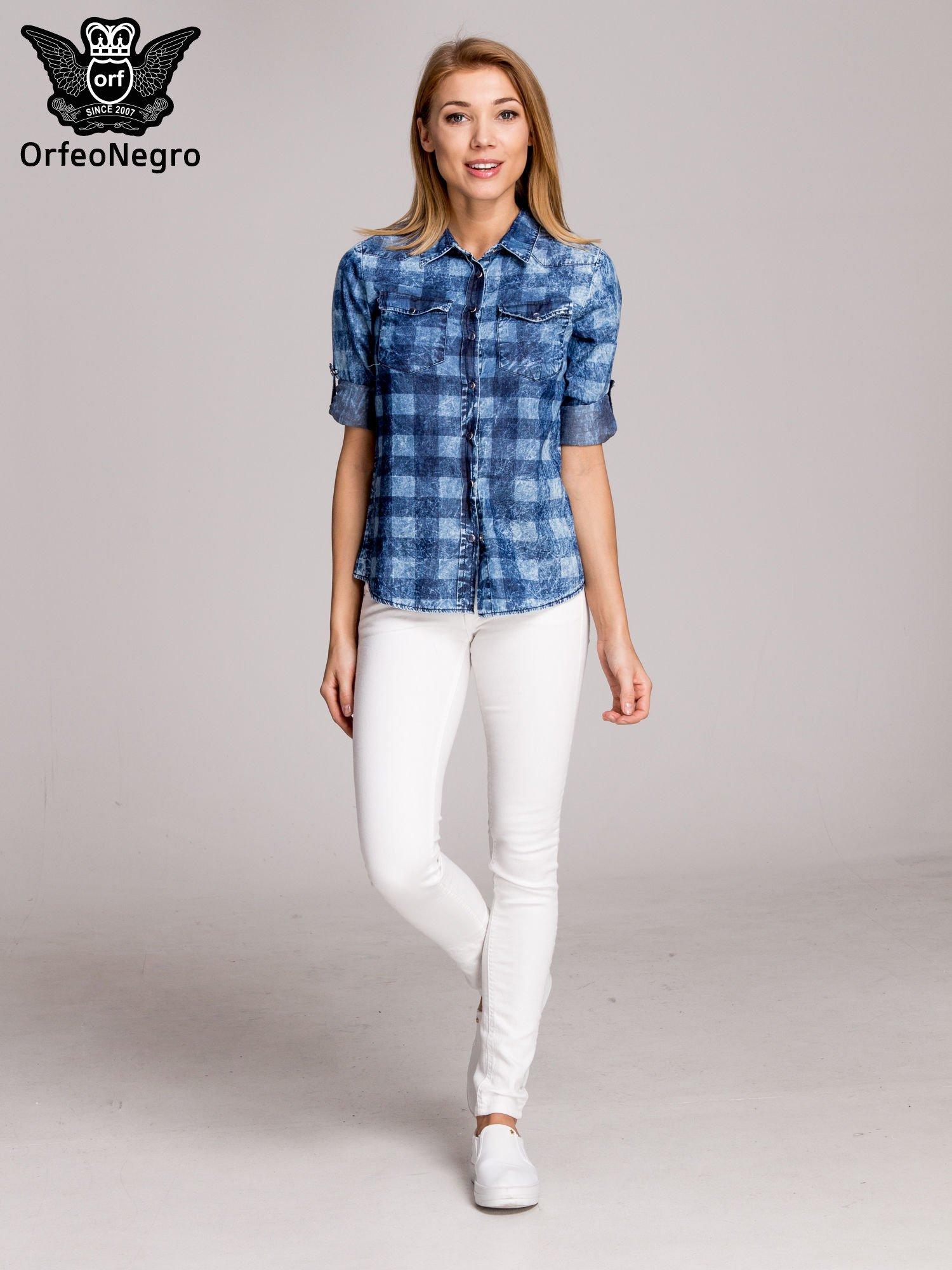 Kraciasta marmurkowa koszula z jeansu                                  zdj.                                  7