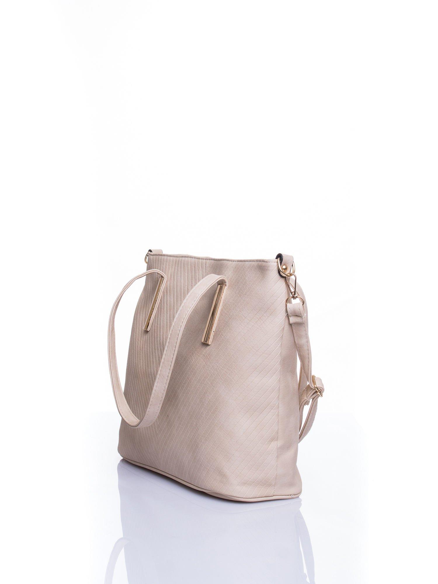 Kremowa fakturowana torba shopper bag                                  zdj.                                  4