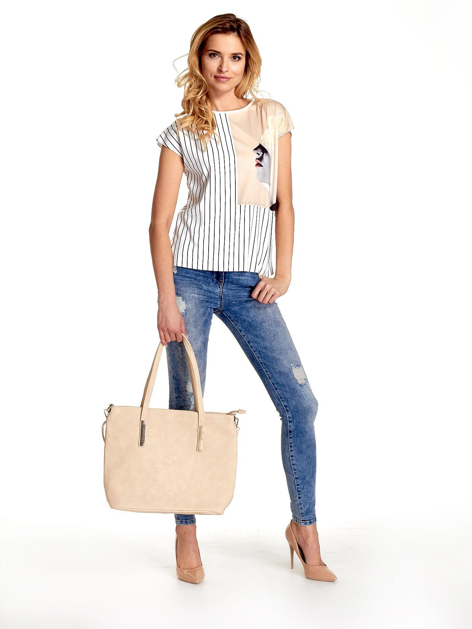 Kremowa fakturowana torba shopper bag                                  zdj.                                  2