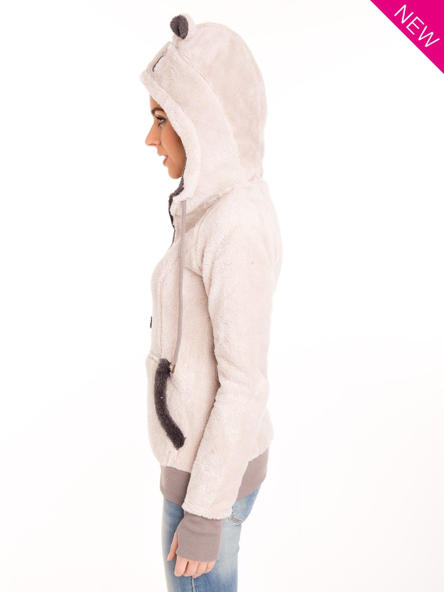Kremowa polarowa bluza miś z kapturem z uszkami                                  zdj.                                  2