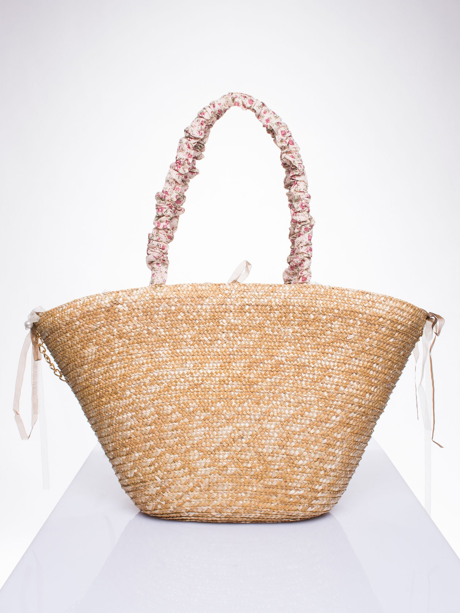 Kremowa torba koszyk plażowy w stylu romantic                                  zdj.                                  3
