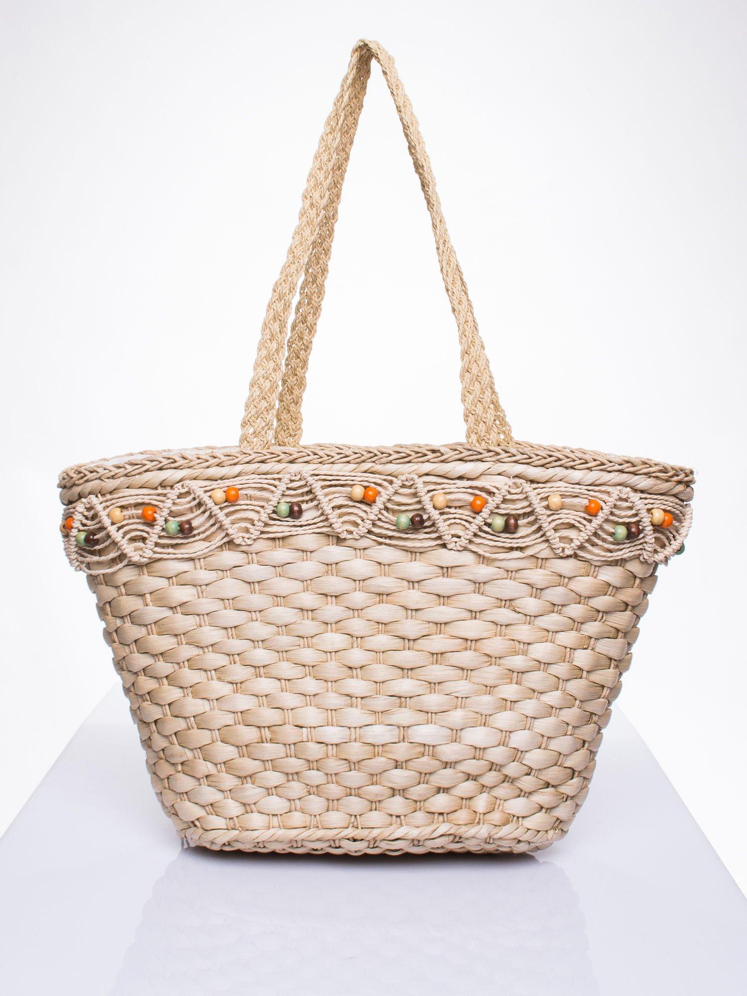 Kremowa torba koszyk plażowy z frędzlem                                  zdj.                                  3