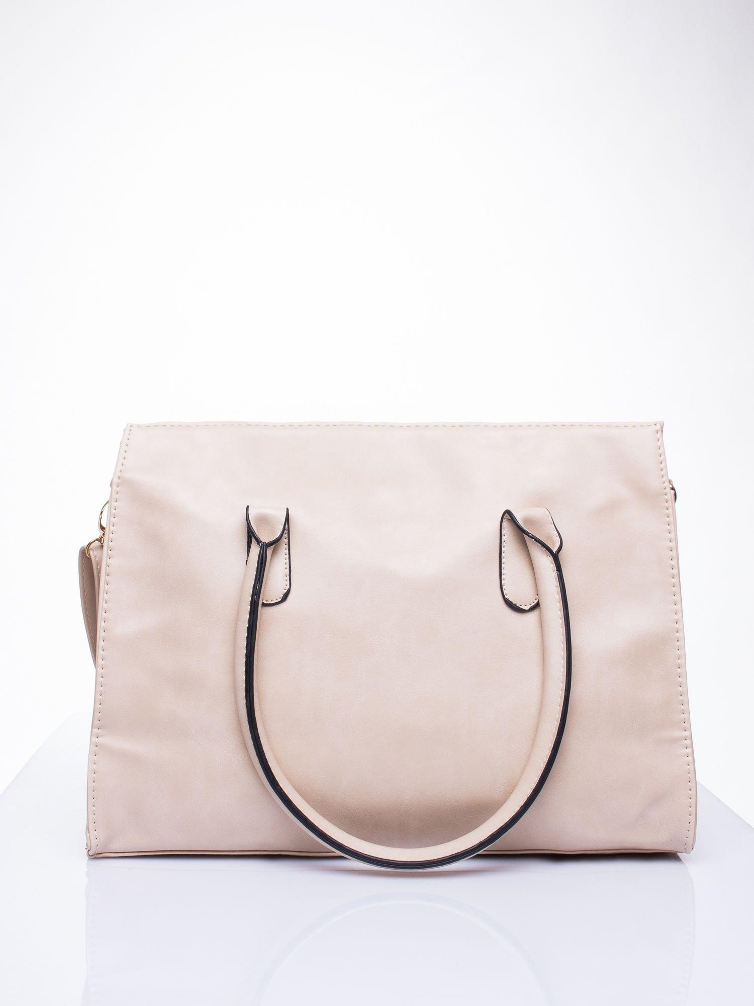 Kremowa torebka teczka z klapką                                  zdj.                                  4