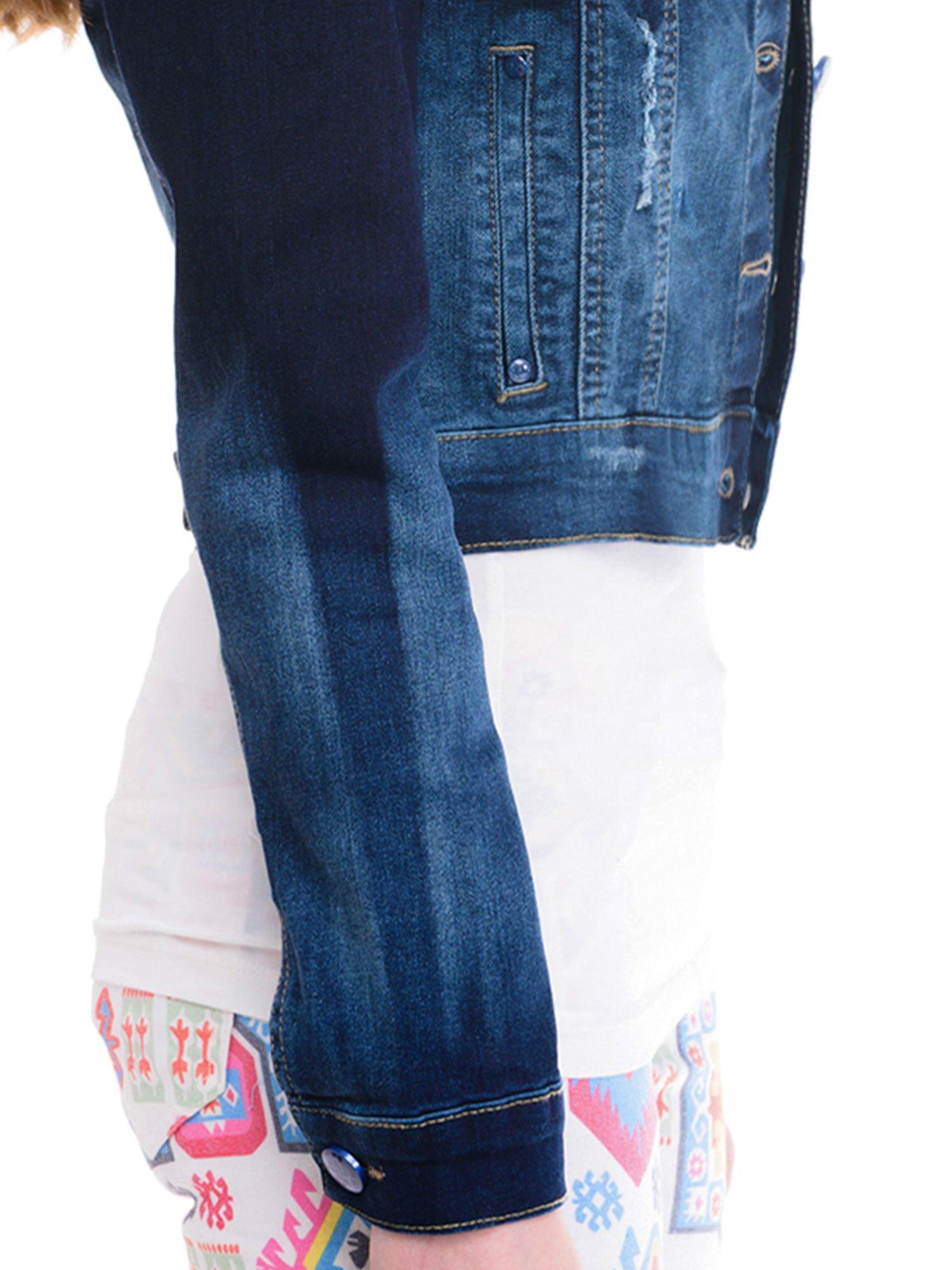 Kurtka jeansowa damska z efektem ombre w kolorze indygo                                  zdj.                                  6