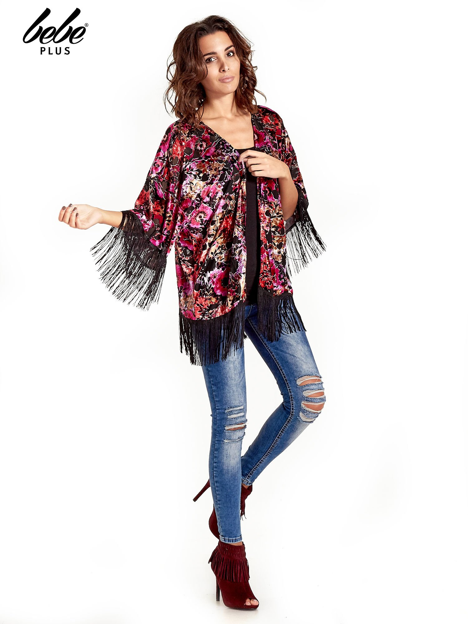 Kwiatowe kimono z frędzlami                                  zdj.                                  3