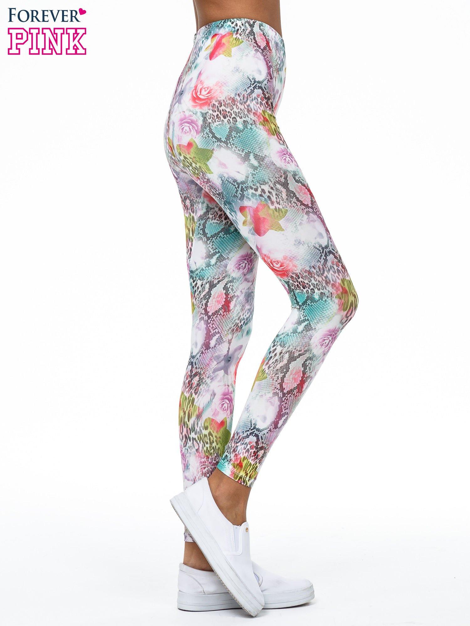 Kwiatowe legginsy w różnobarwne wzory                                  zdj.                                  3