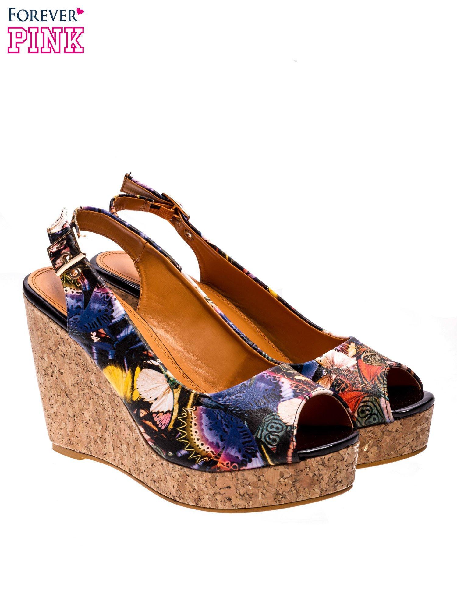 Kwiatowe sandały peep toe na koturnie korku                                  zdj.                                  3