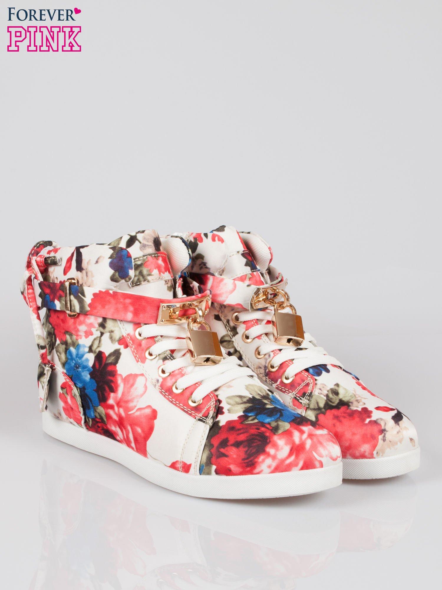 Kwiatowe sneakersy damskie ze złotą kłódką                                  zdj.                                  2
