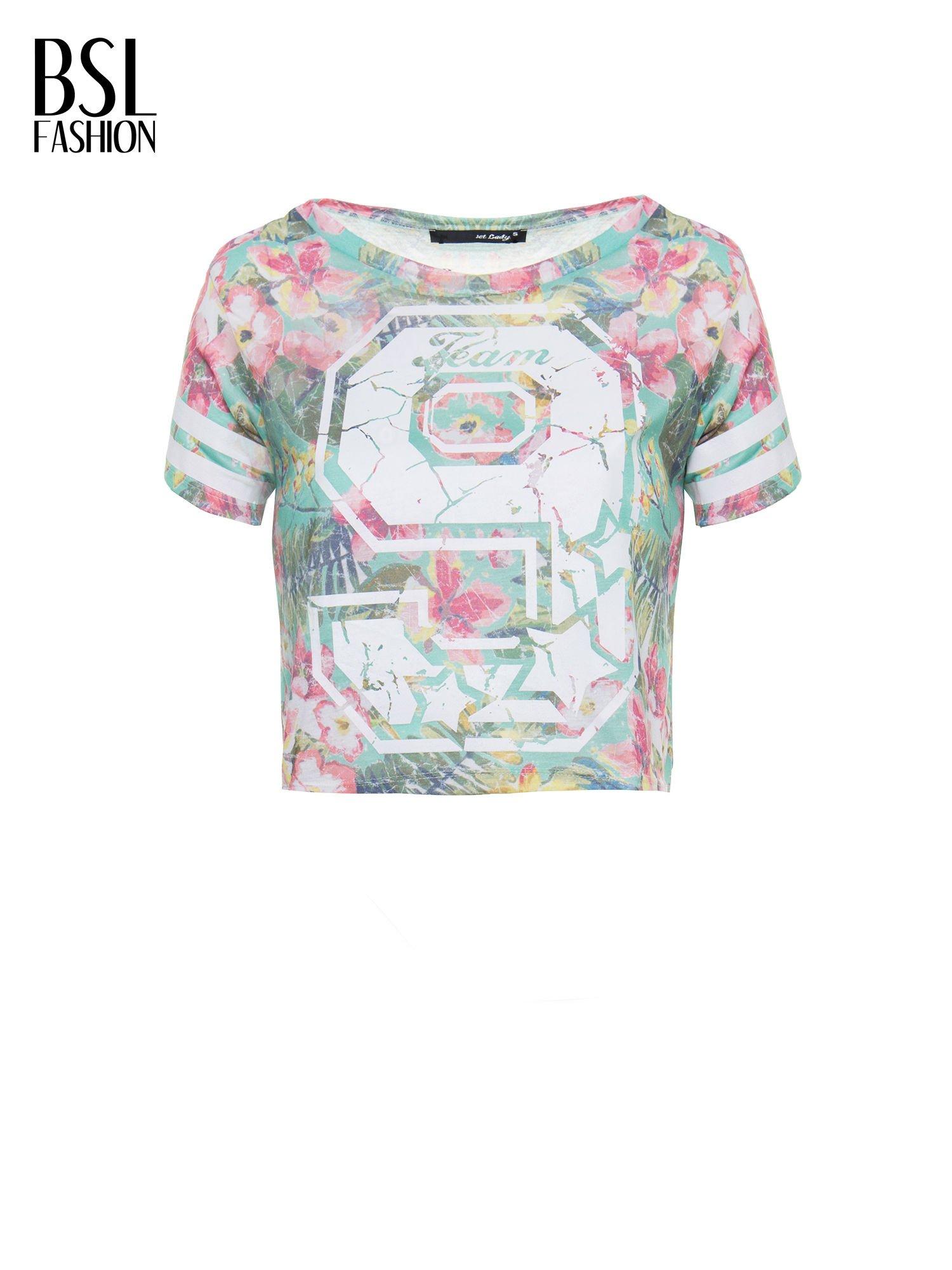 Kwiatowy t-shirt typu crop top z numerkiem                                  zdj.                                  2