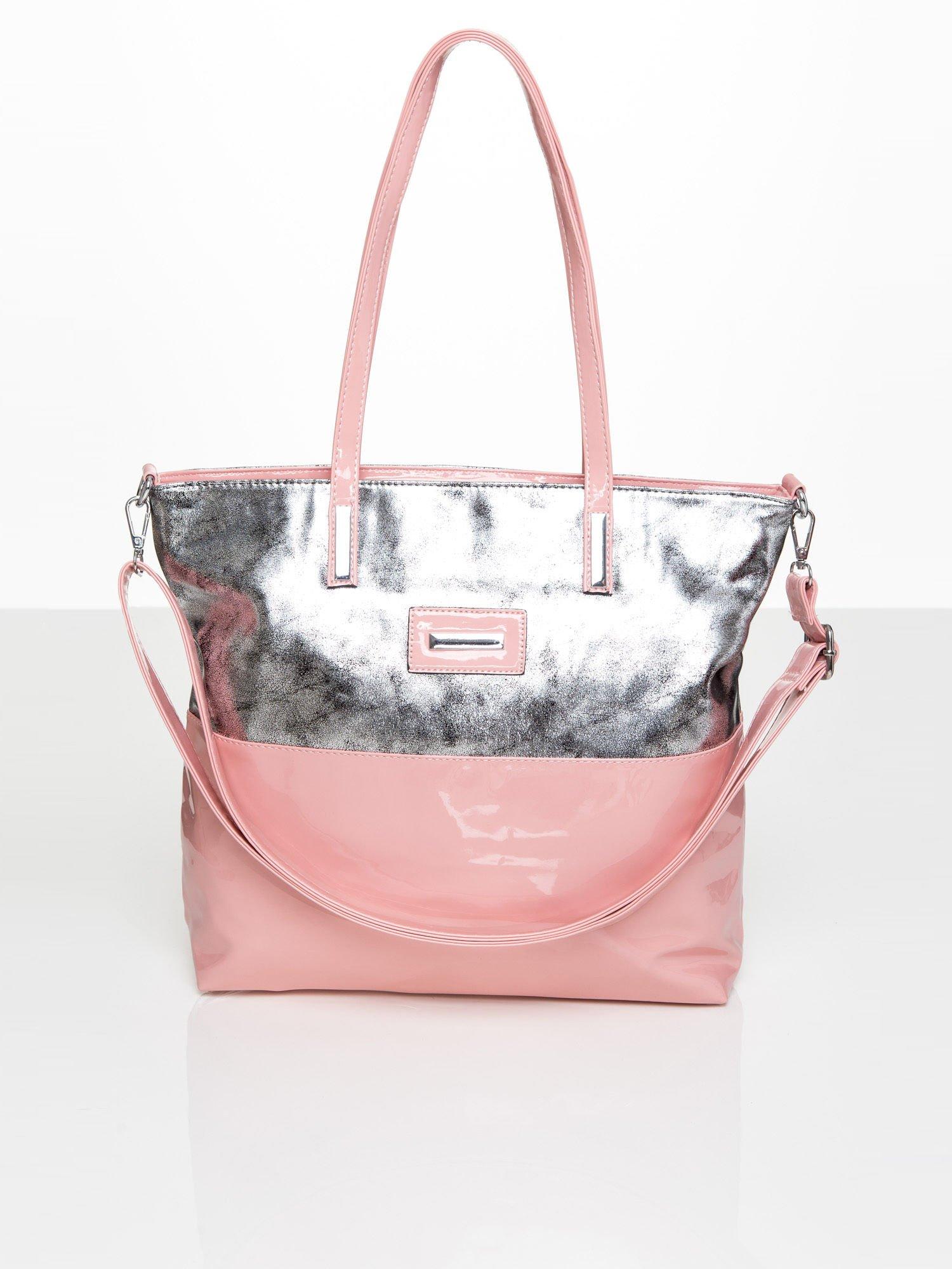 4ac315e2b77a2 Lakierowana torba shopper ze srebrną górą różowa - Akcesoria torba ...