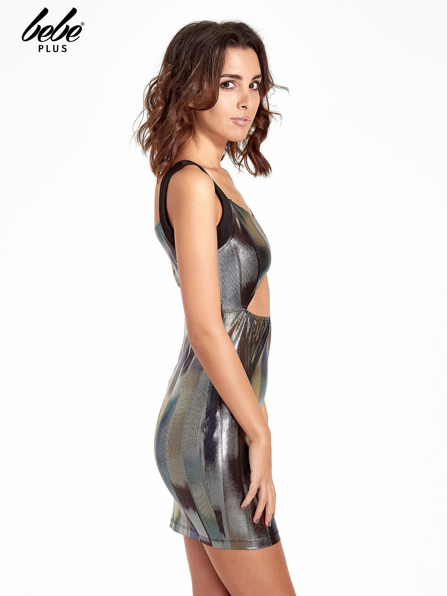 Metaliczna sukienka z wycięciem cut out z przodu                                  zdj.                                  3