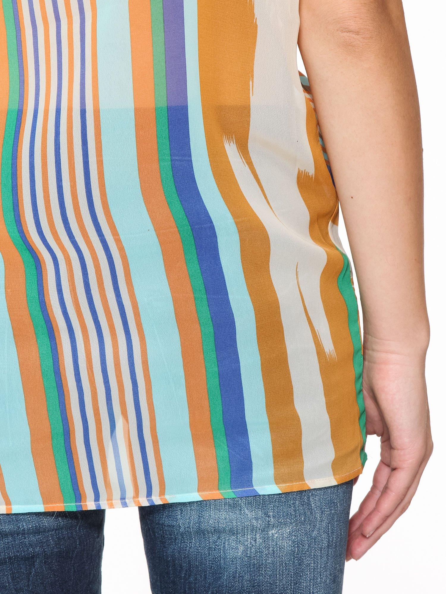 Miętowa bluzka mgiełka w nieregularne paski                                  zdj.                                  11