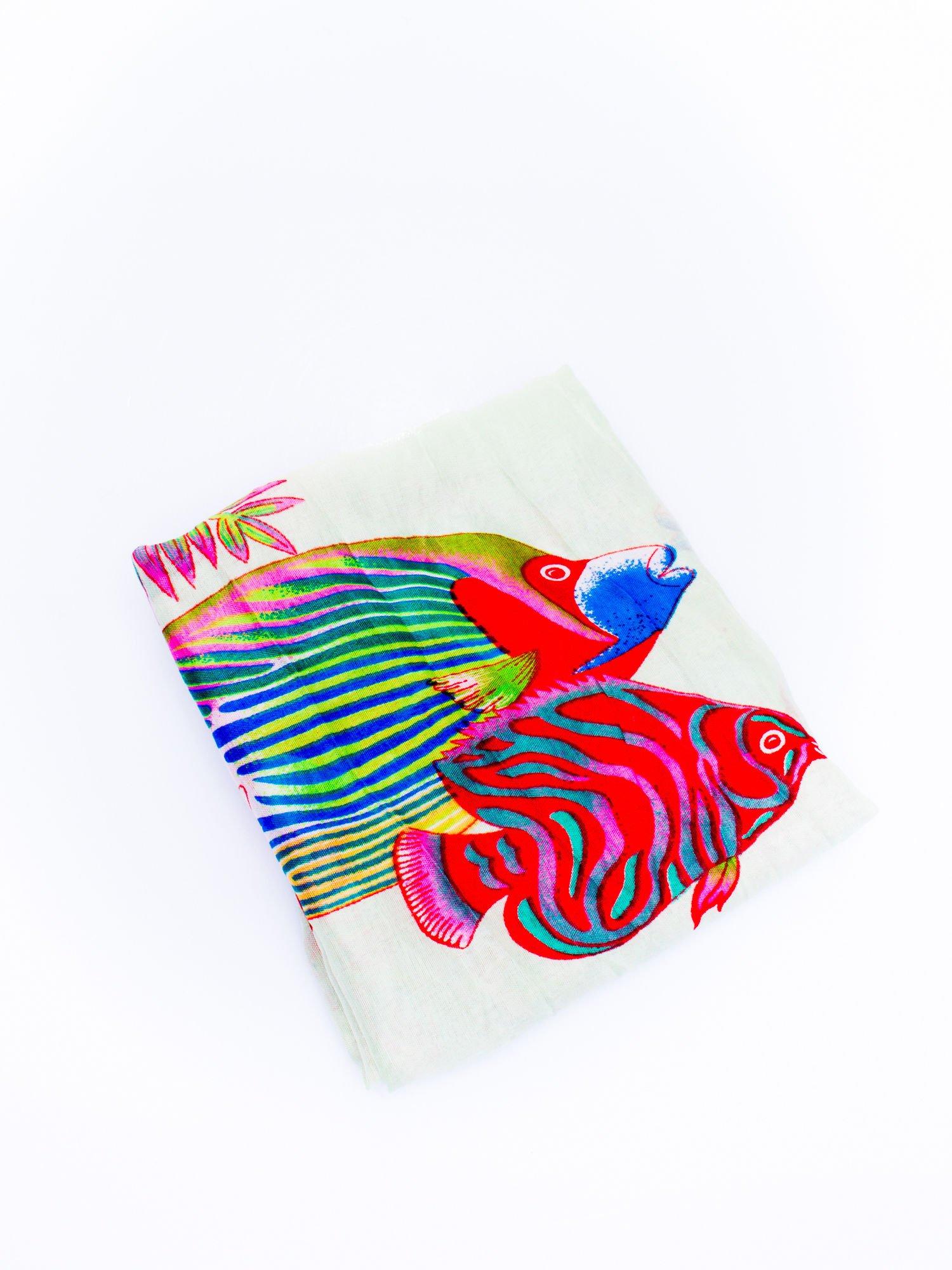 Miętowa chusta w rybki                                  zdj.                                  3
