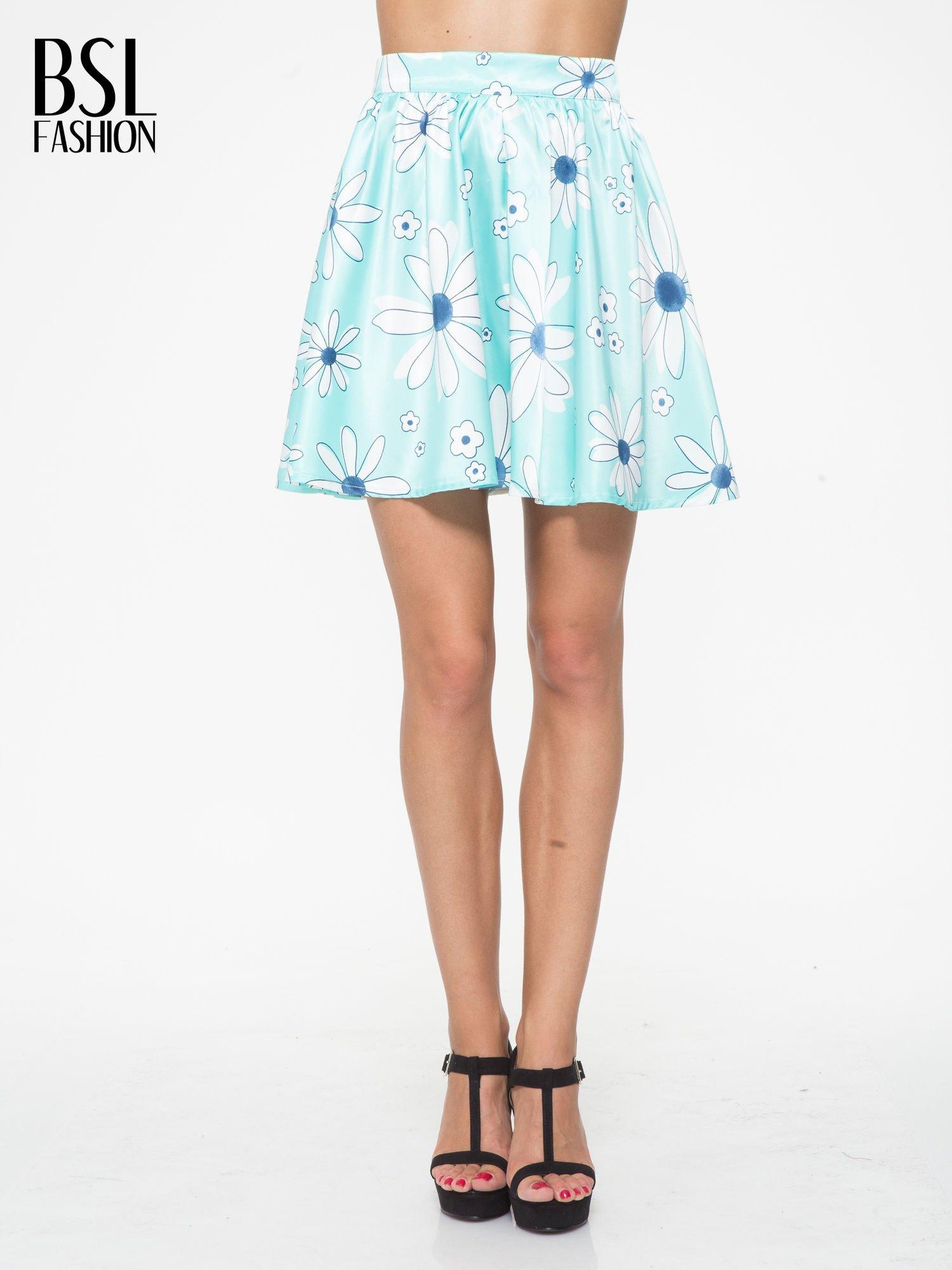 Miętowa rozkloszowana spódnica skater w kwiaty                                  zdj.                                  1
