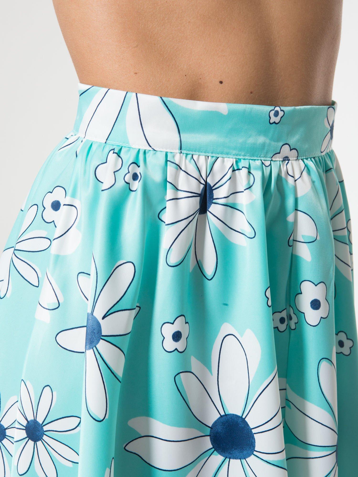 Miętowa rozkloszowana spódnica skater w kwiaty                                  zdj.                                  9