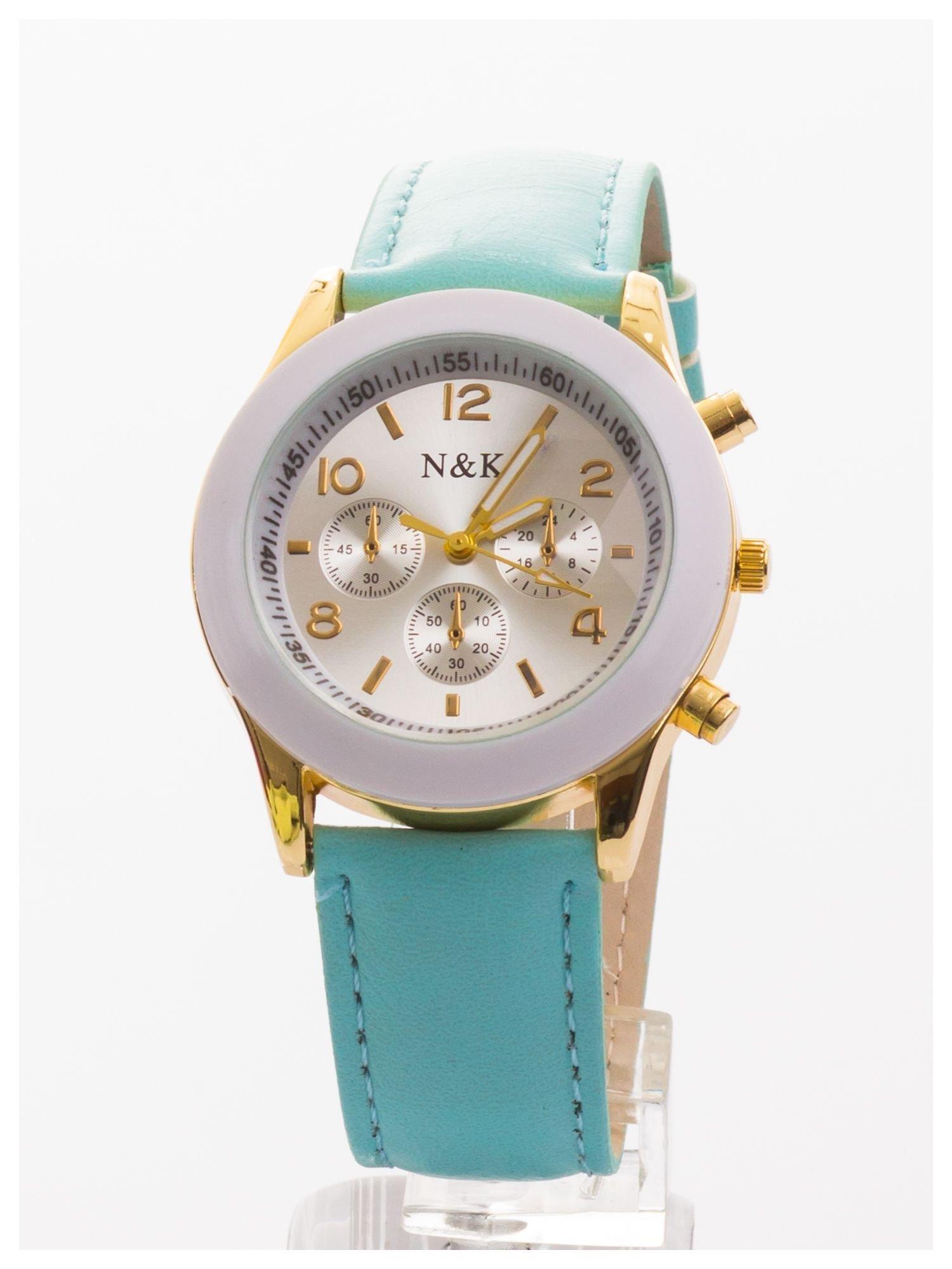 Miętowy damski zegarek z ozdobnym tachometrem                                  zdj.                                  1