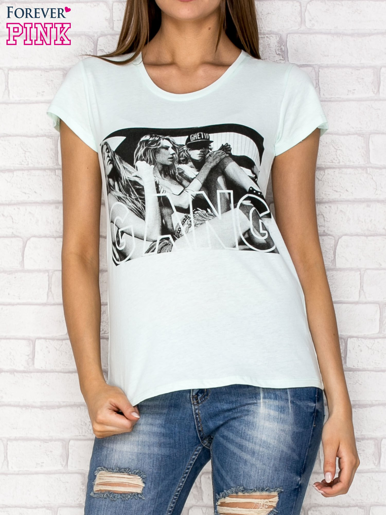 Miętowy t-shirt z napisem GANG                                  zdj.                                  1