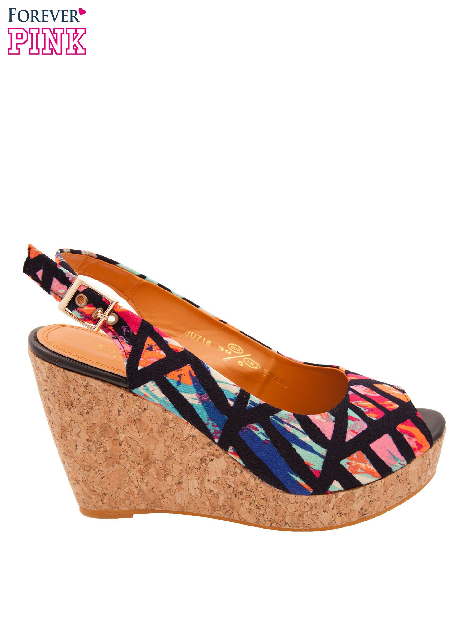 Multikolorowe sandały peep toe na koturnie korku                                  zdj.                                  1