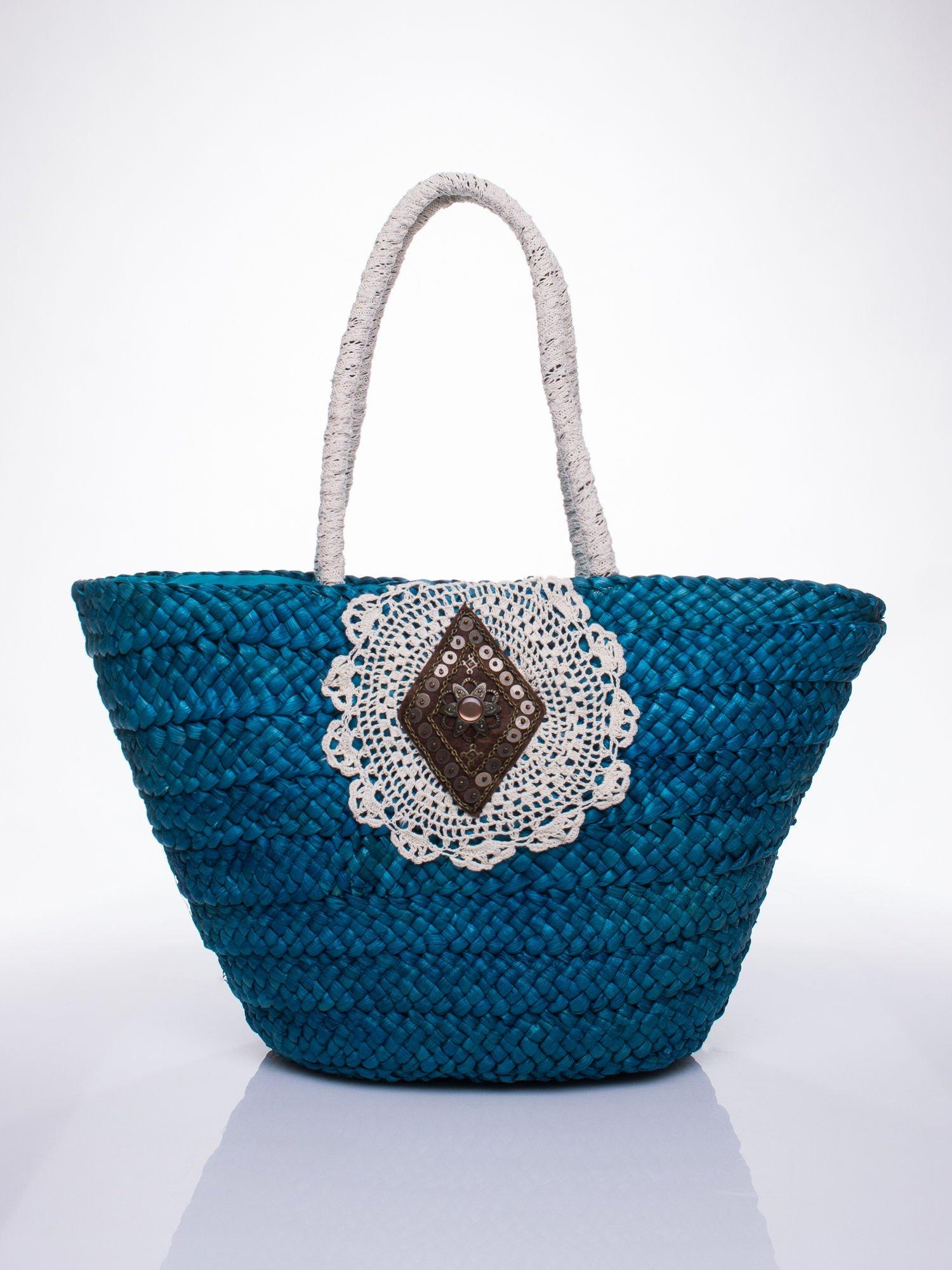 Niebiesk torba koszyk plażowy z haftem                                  zdj.                                  1