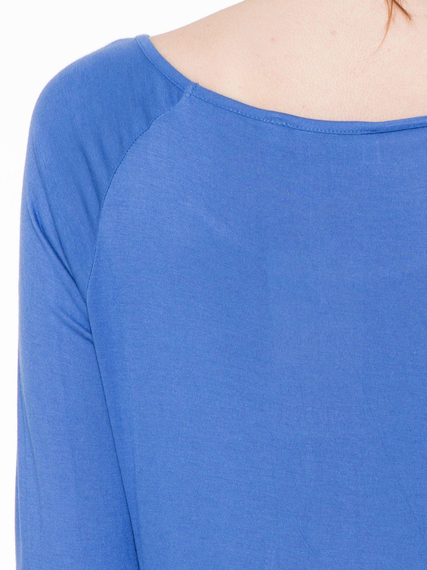 Niebieska basicowa gładka bluzka z rękawem 7/8                                  zdj.                                  5