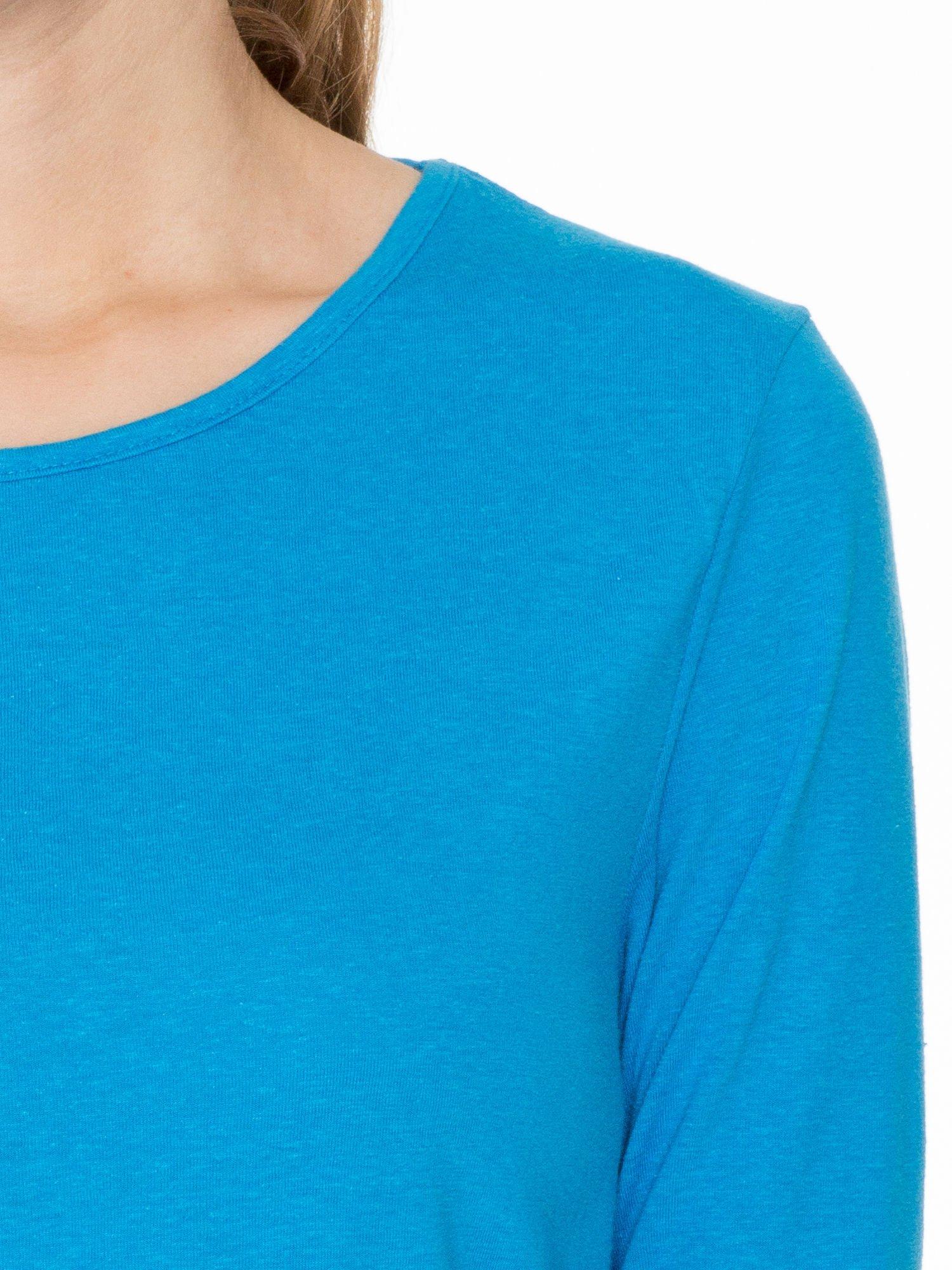 Niebieska bawełniana bluzka z gumką na dole                                  zdj.                                  5