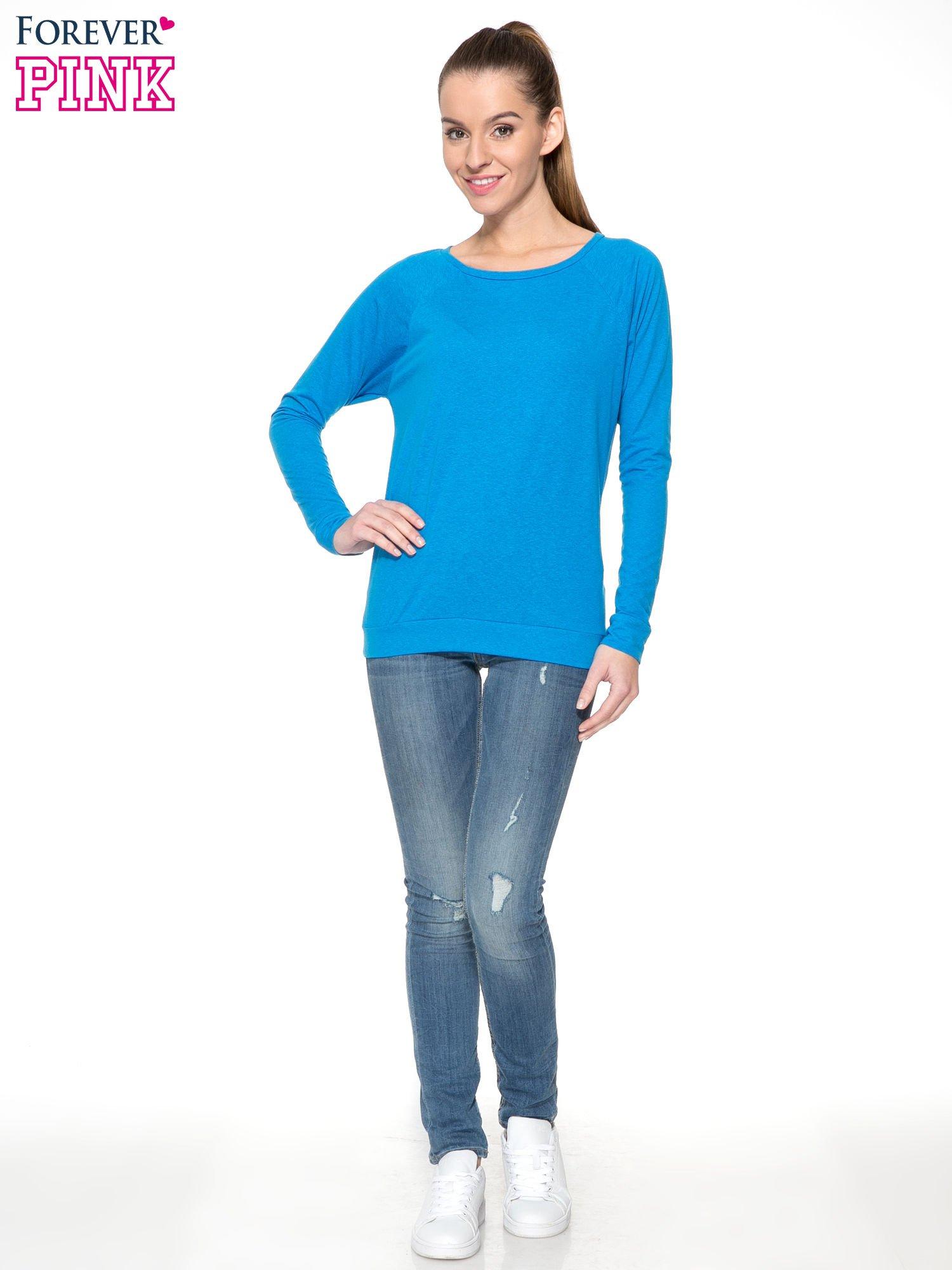 Niebieska bawełniana bluzka z rękawami typu reglan                                  zdj.                                  2