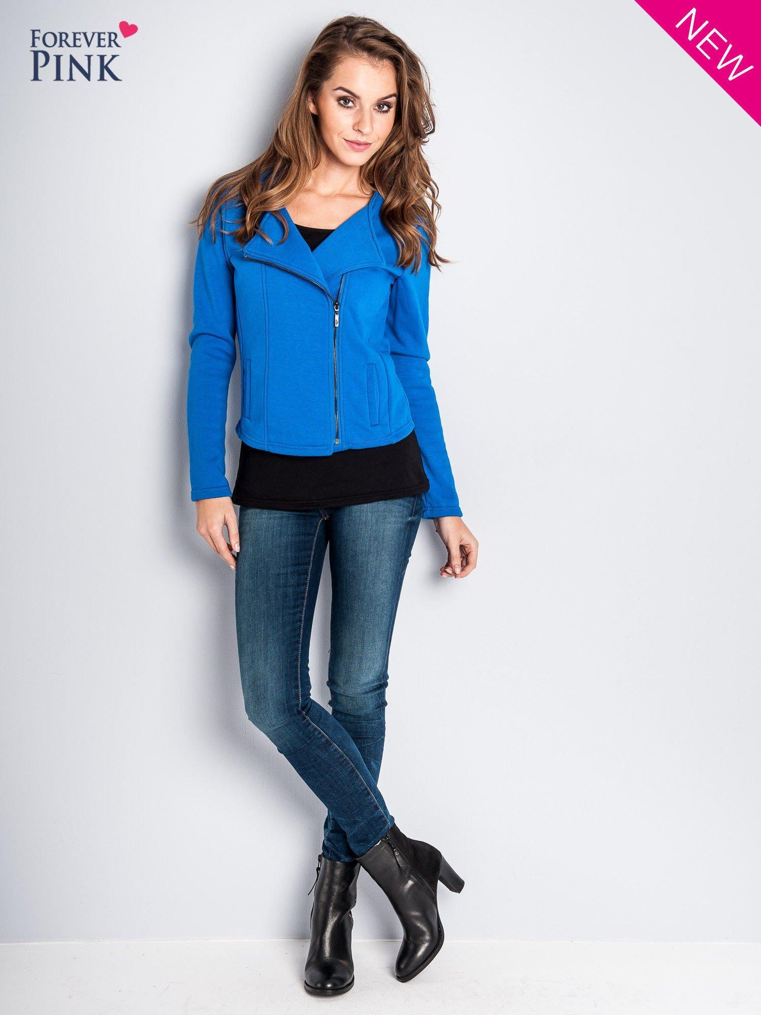 Niebieska bluza o kroju ramoneski z asymetrycznym suwakiem                                  zdj.                                  3