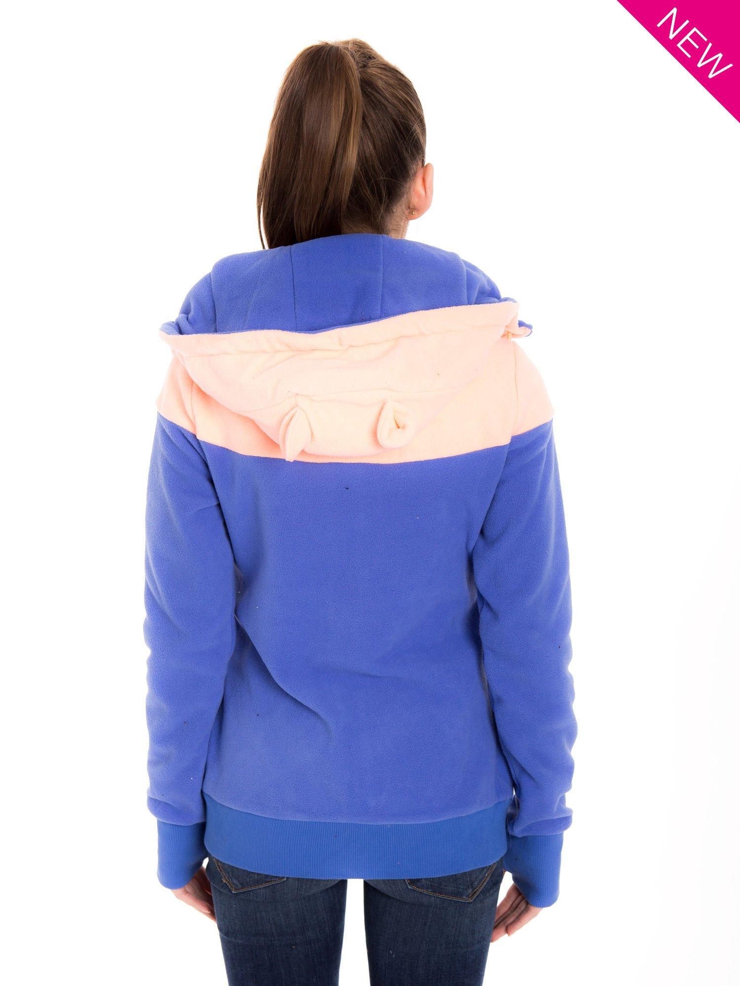 Niebieska bluza polarowa z kapturem z uszkami                                  zdj.                                  3