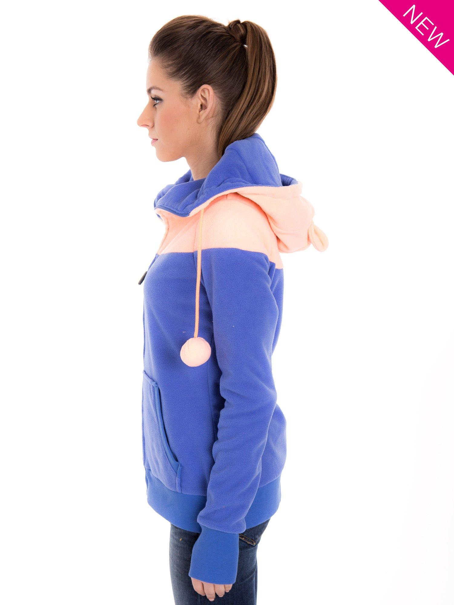 Niebieska bluza polarowa z kapturem z uszkami                                  zdj.                                  5
