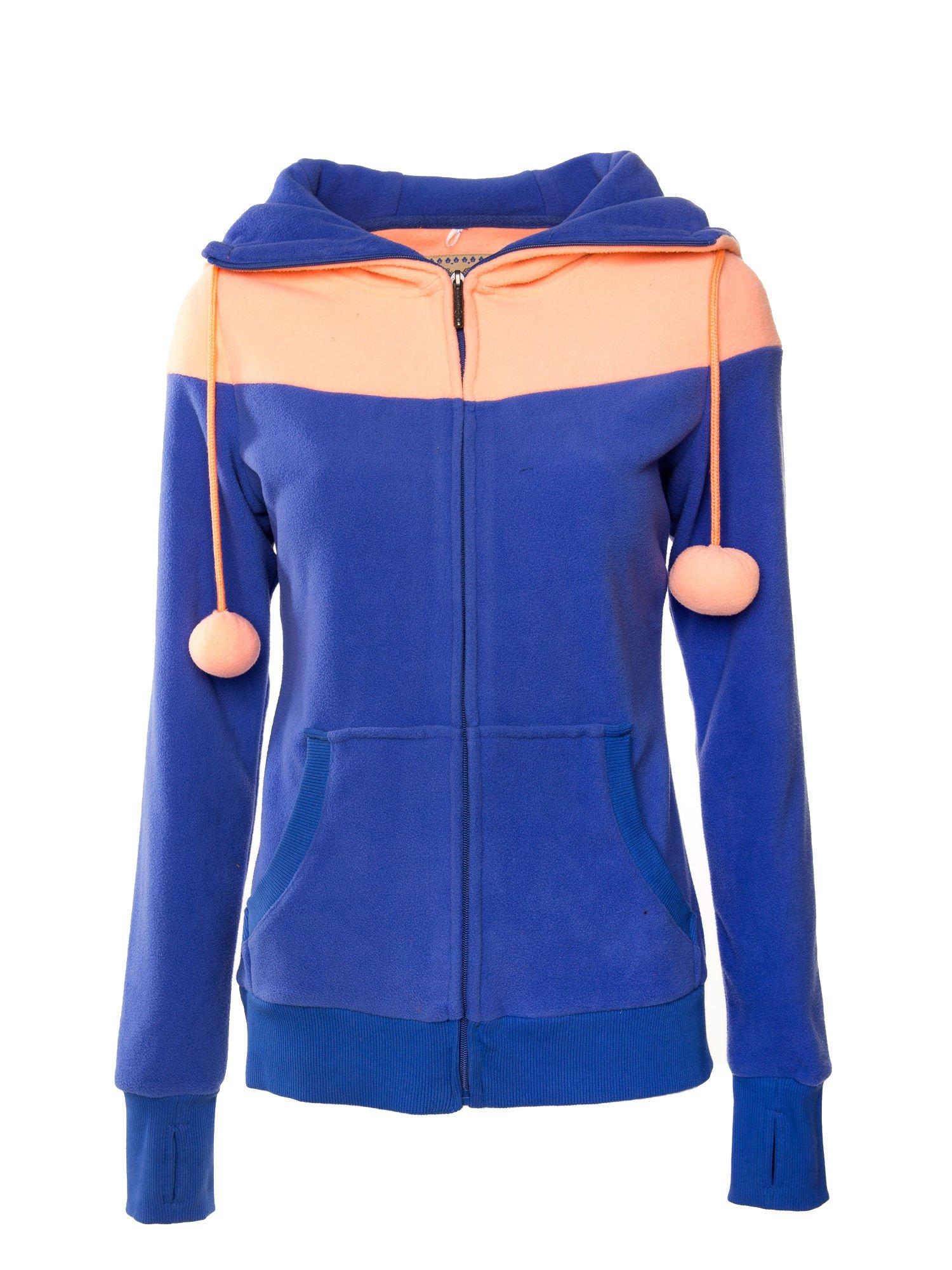 Niebieska bluza polarowa z kapturem z uszkami                                  zdj.                                  1