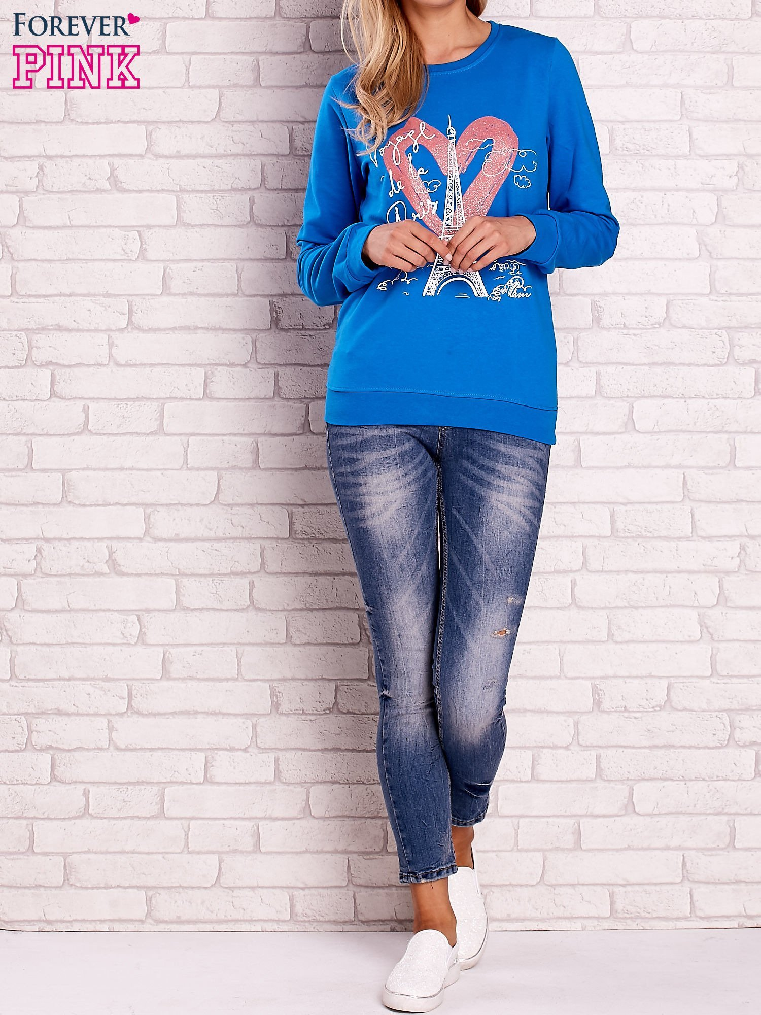 Niebieska bluza z motywem paryskim                                  zdj.                                  2