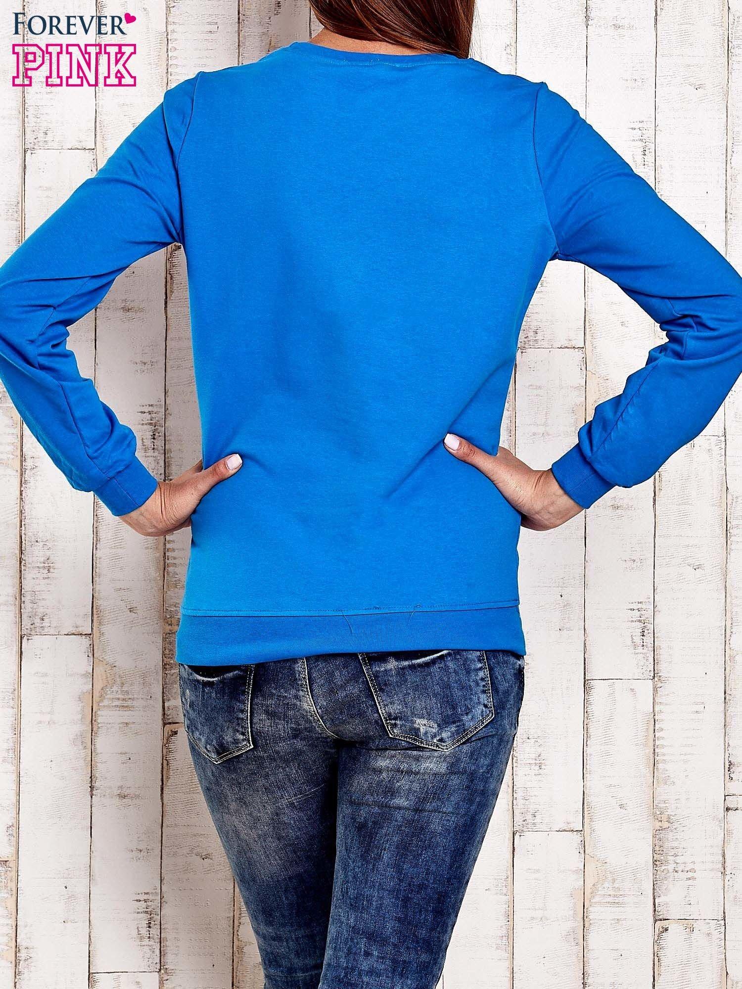 Niebieska bluza z napisem GLITTER SPARKLE SHINE                                  zdj.                                  4