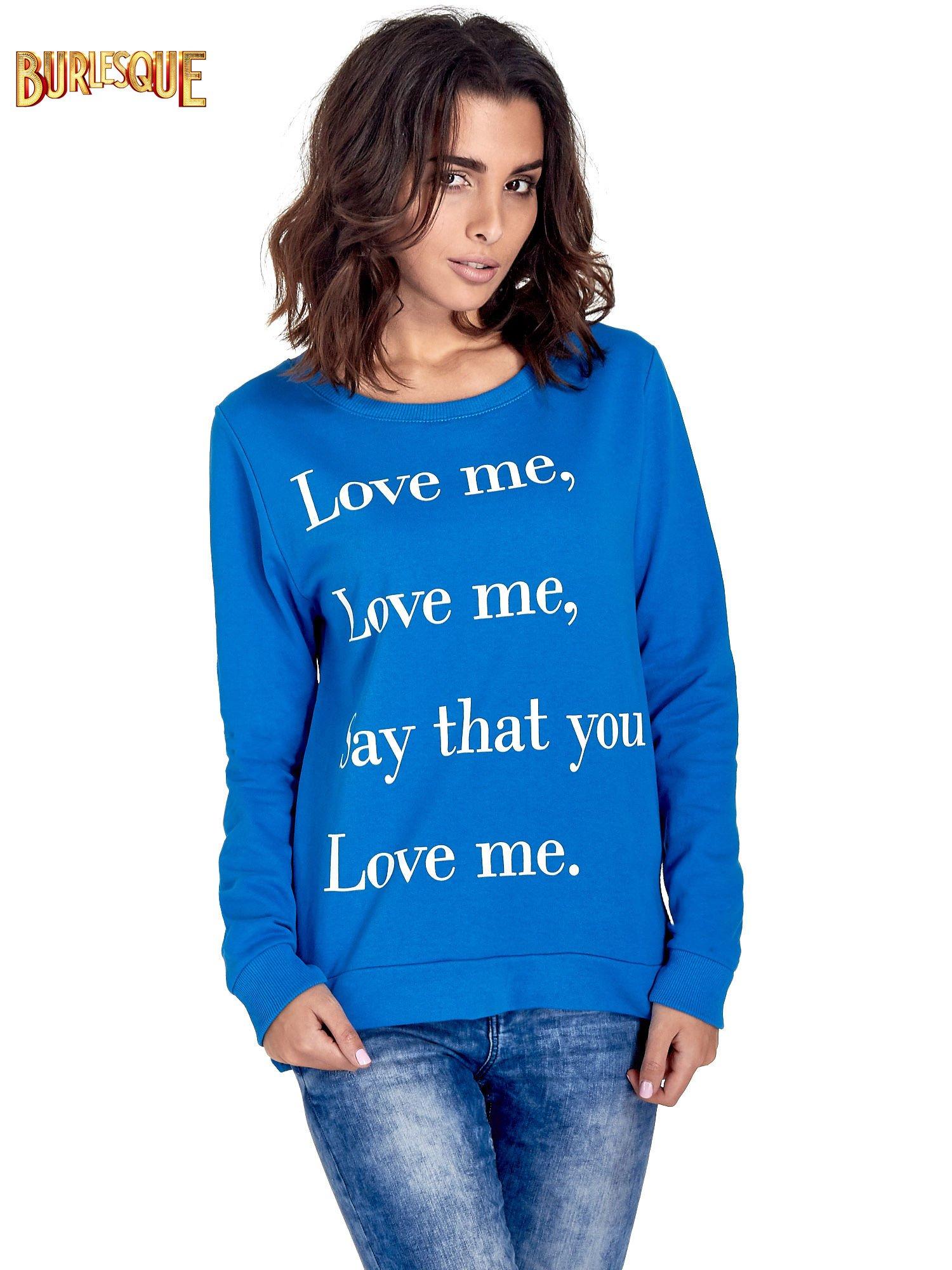 Niebieska bluza z napisem LOVE ME i dłuższym tyłem                                  zdj.                                  1