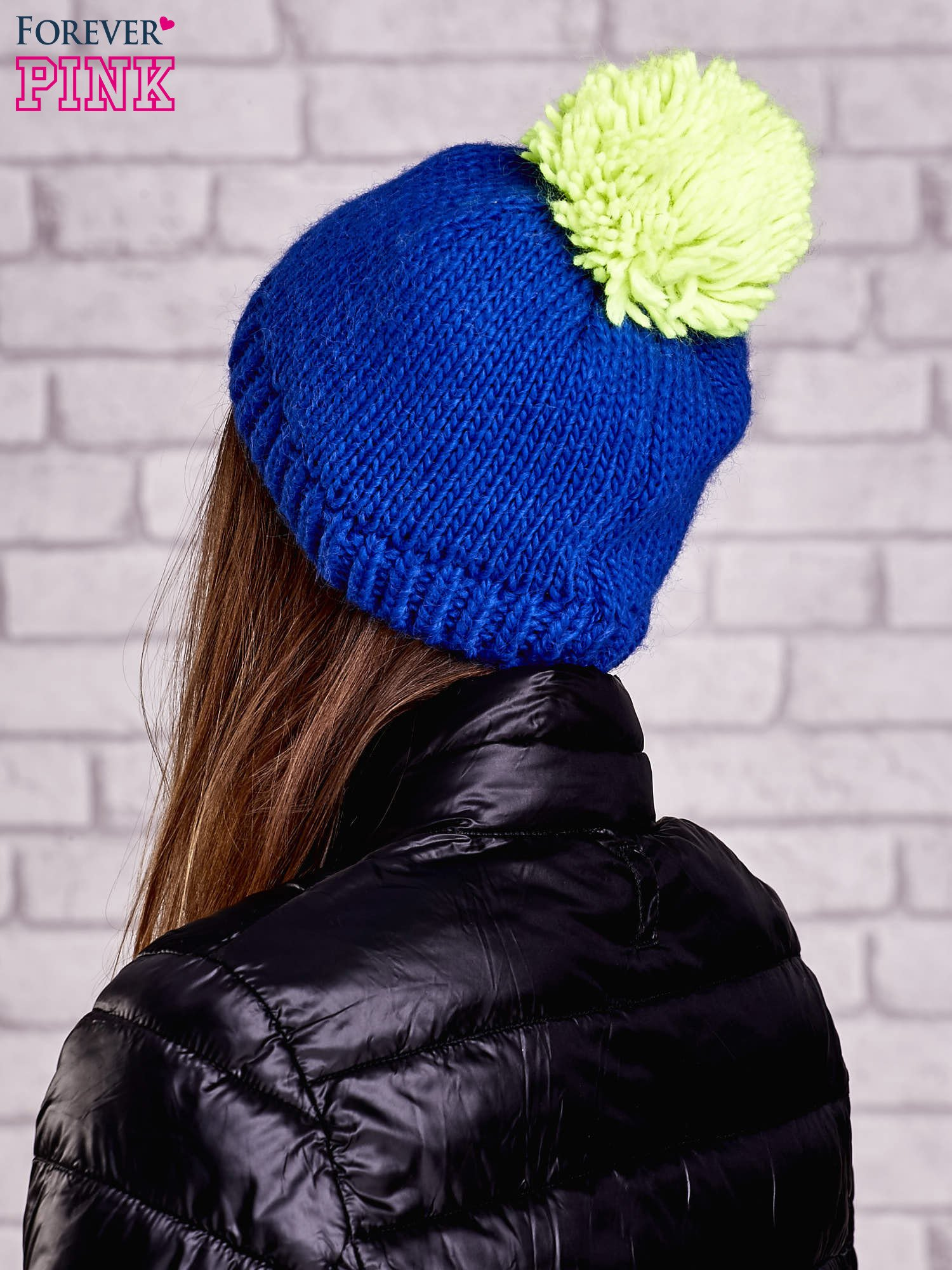 Niebieska czapka z kontrastowym pomponem                                  zdj.                                  3
