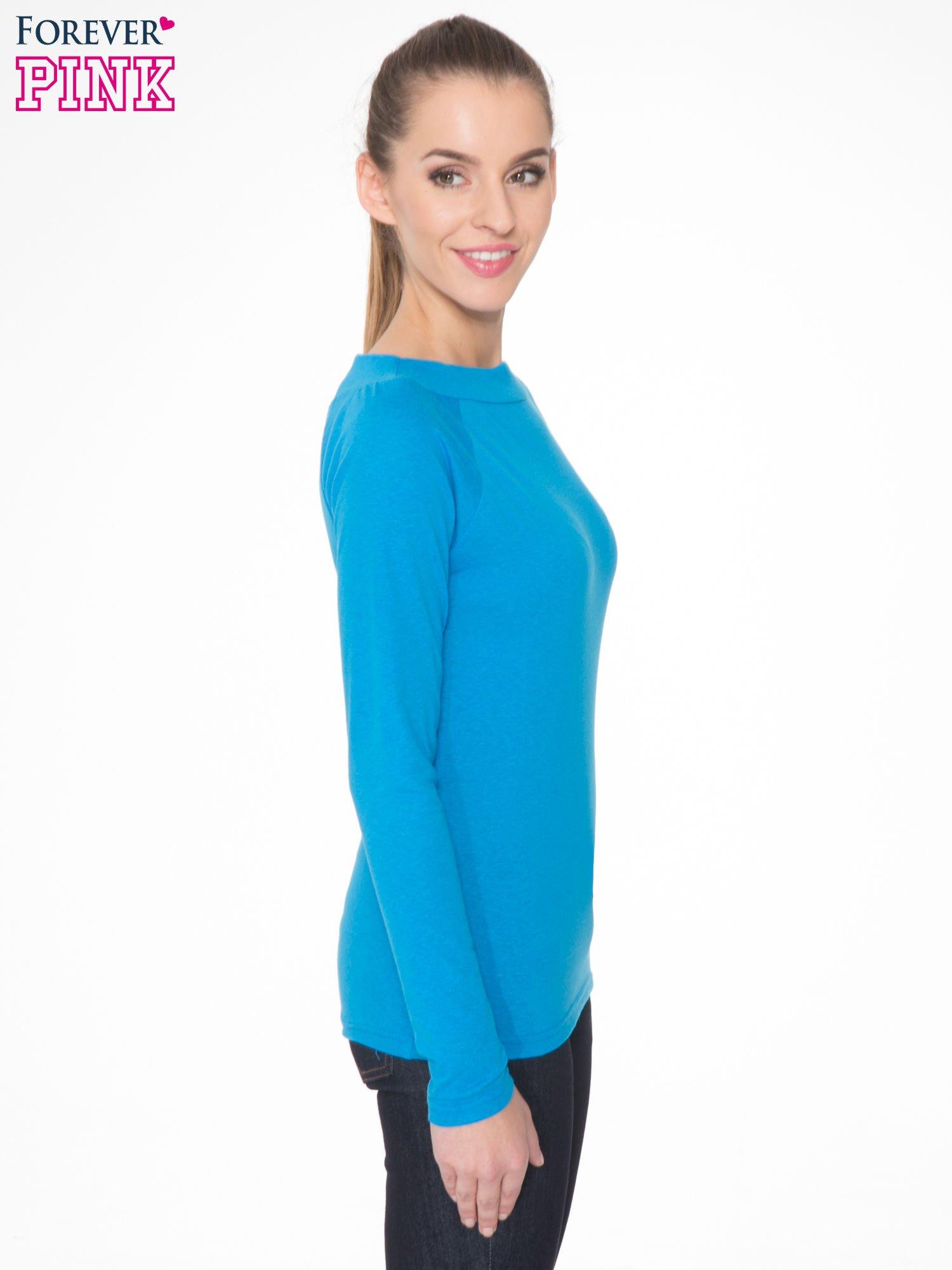 Niebieska gładka bluzka z reglanowymi rękawami                                  zdj.                                  3