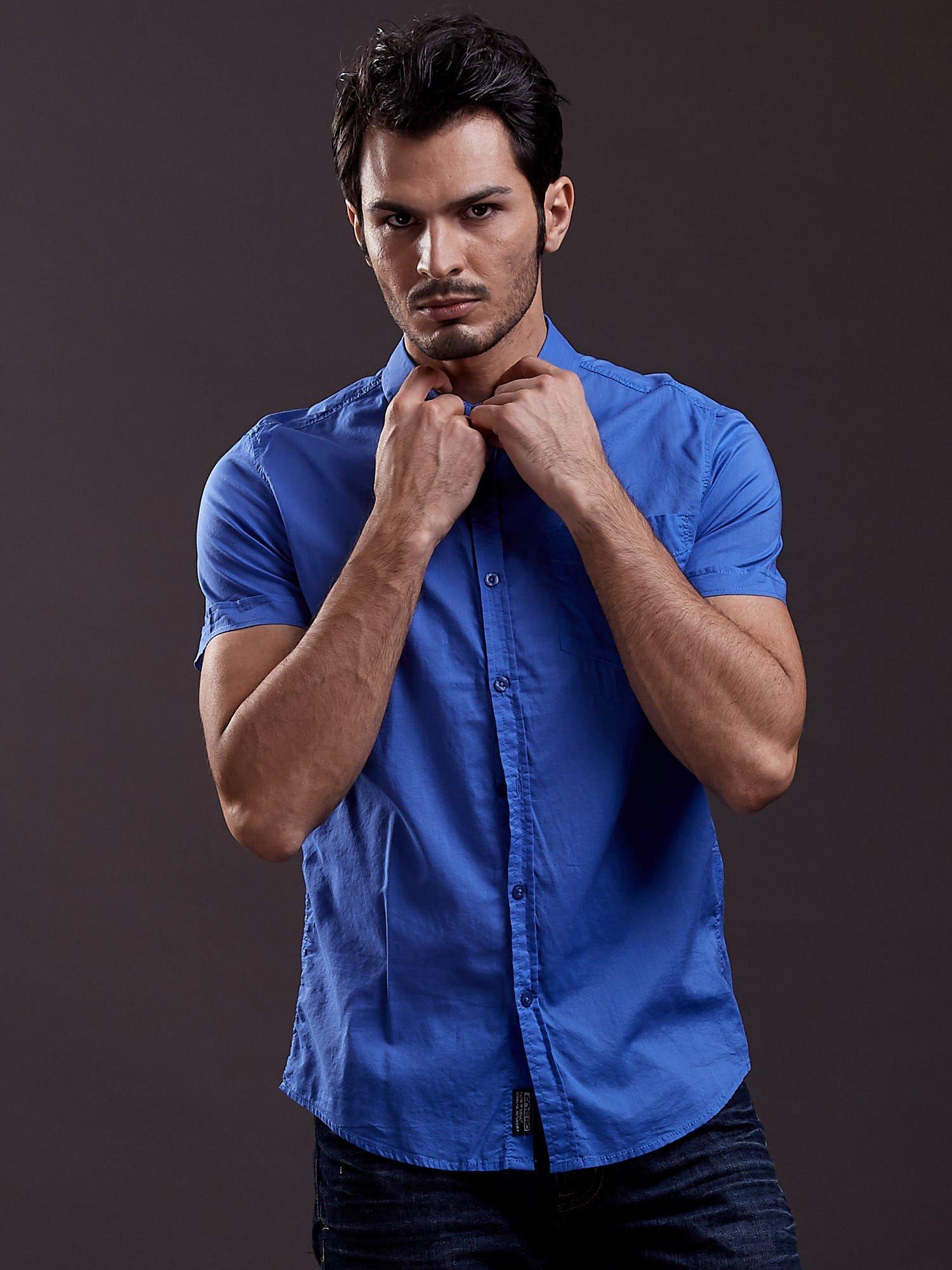 Niebieska gładka koszula męska Funk n Soul                                  zdj.                                  3