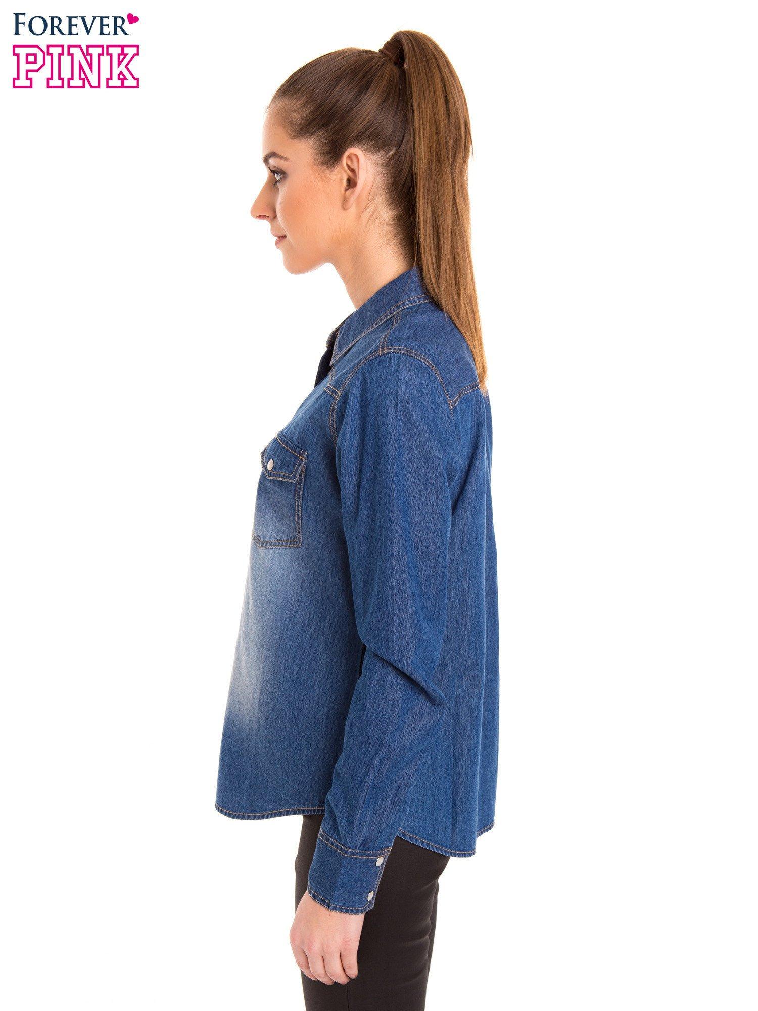 Niebieska jeansowa koszula z przetarciami                                  zdj.                                  3