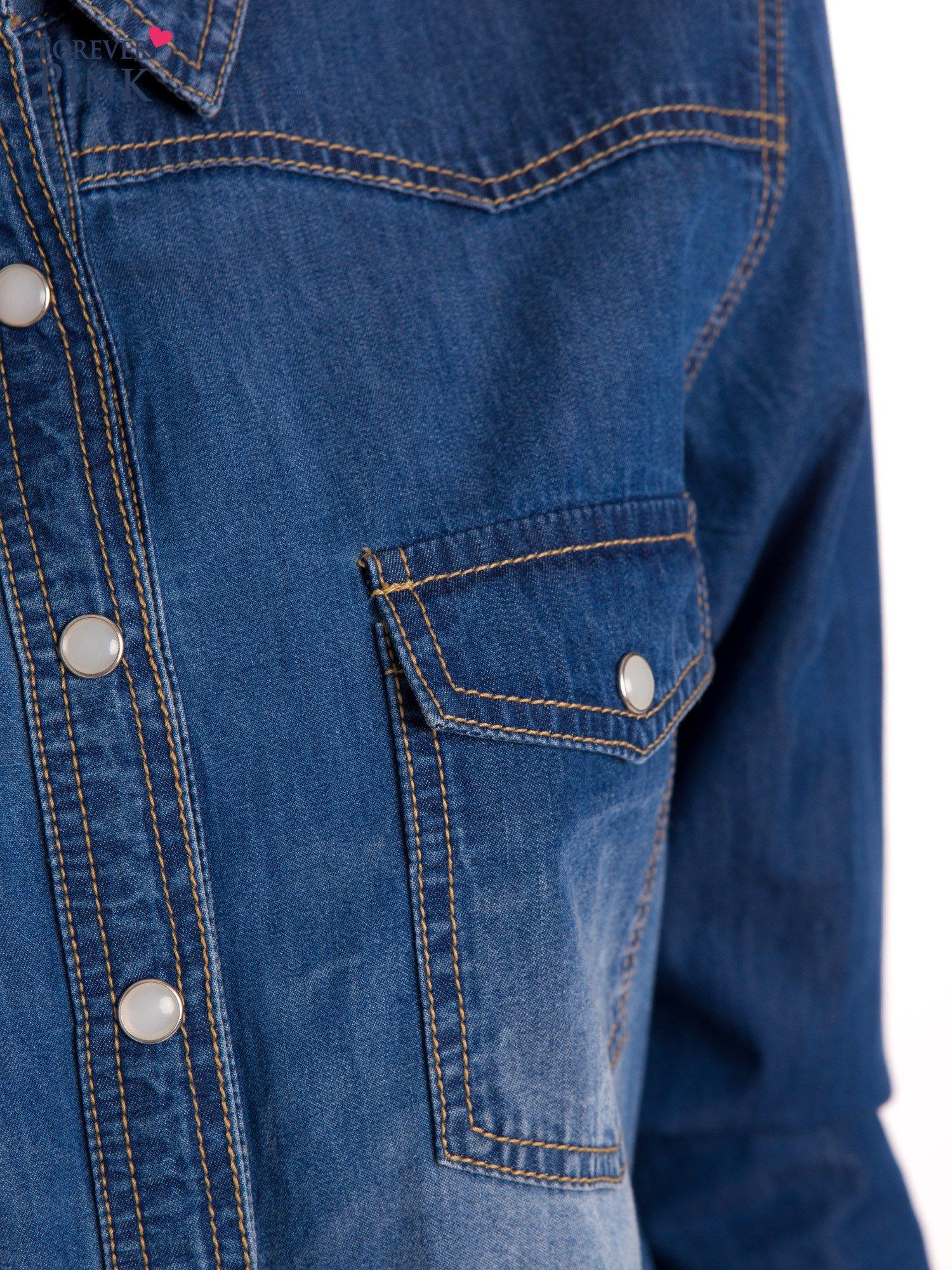 Niebieska jeansowa koszula z przetarciami                                  zdj.                                  5