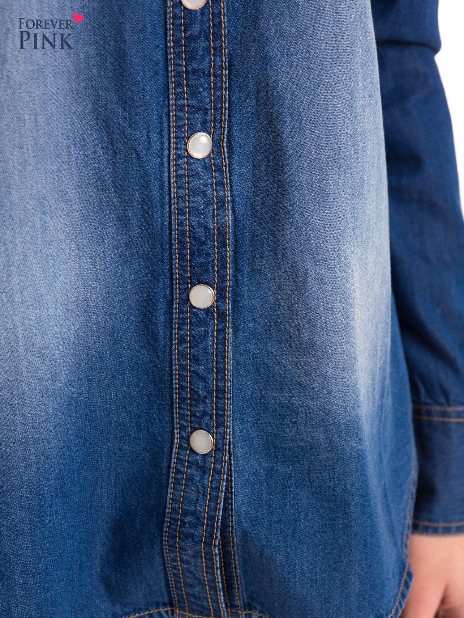 Niebieska jeansowa koszula z przetarciami                                  zdj.                                  7