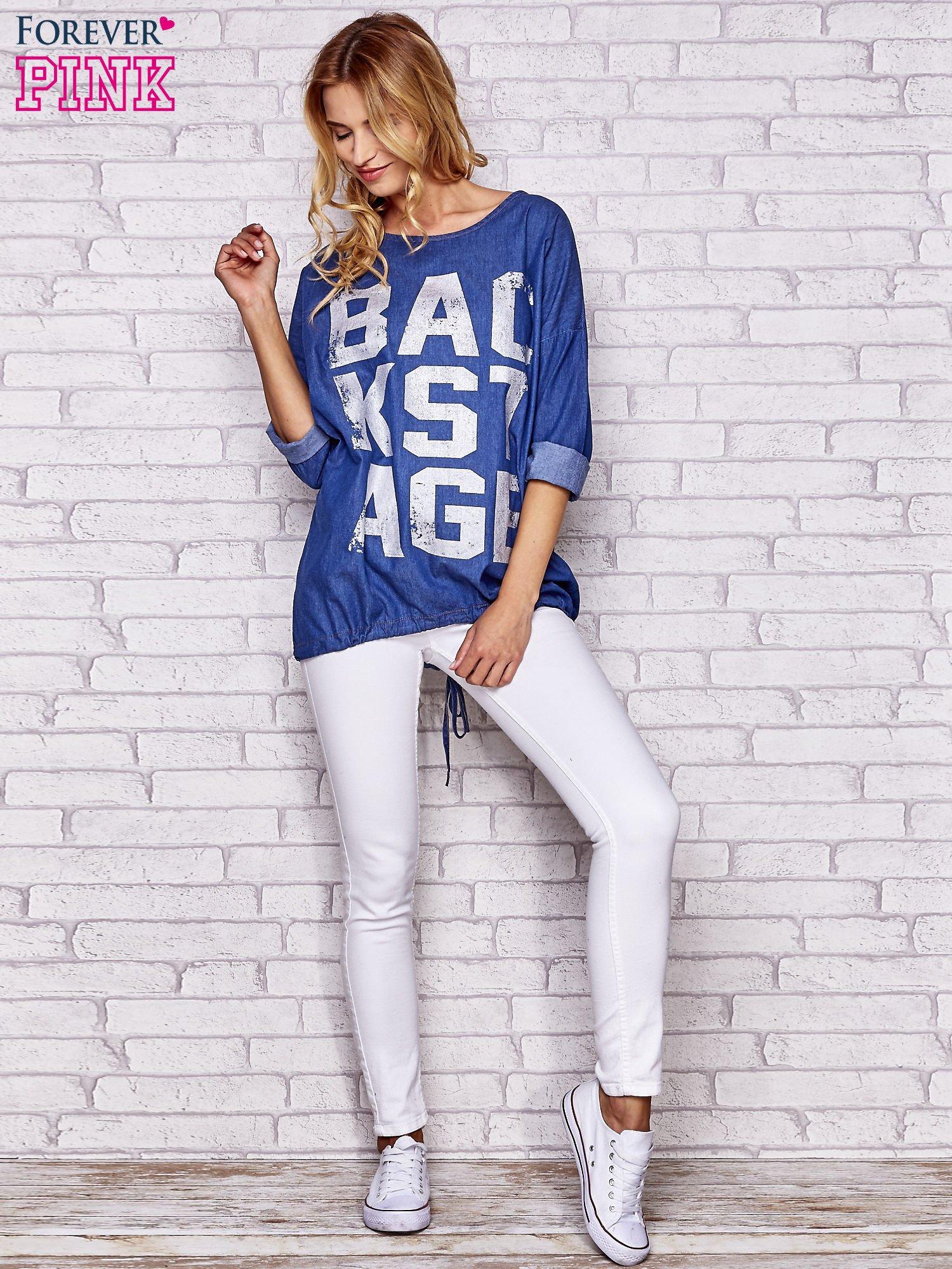 Niebieska jeansowa tunika ze sznureczkiem                                  zdj.                                  2