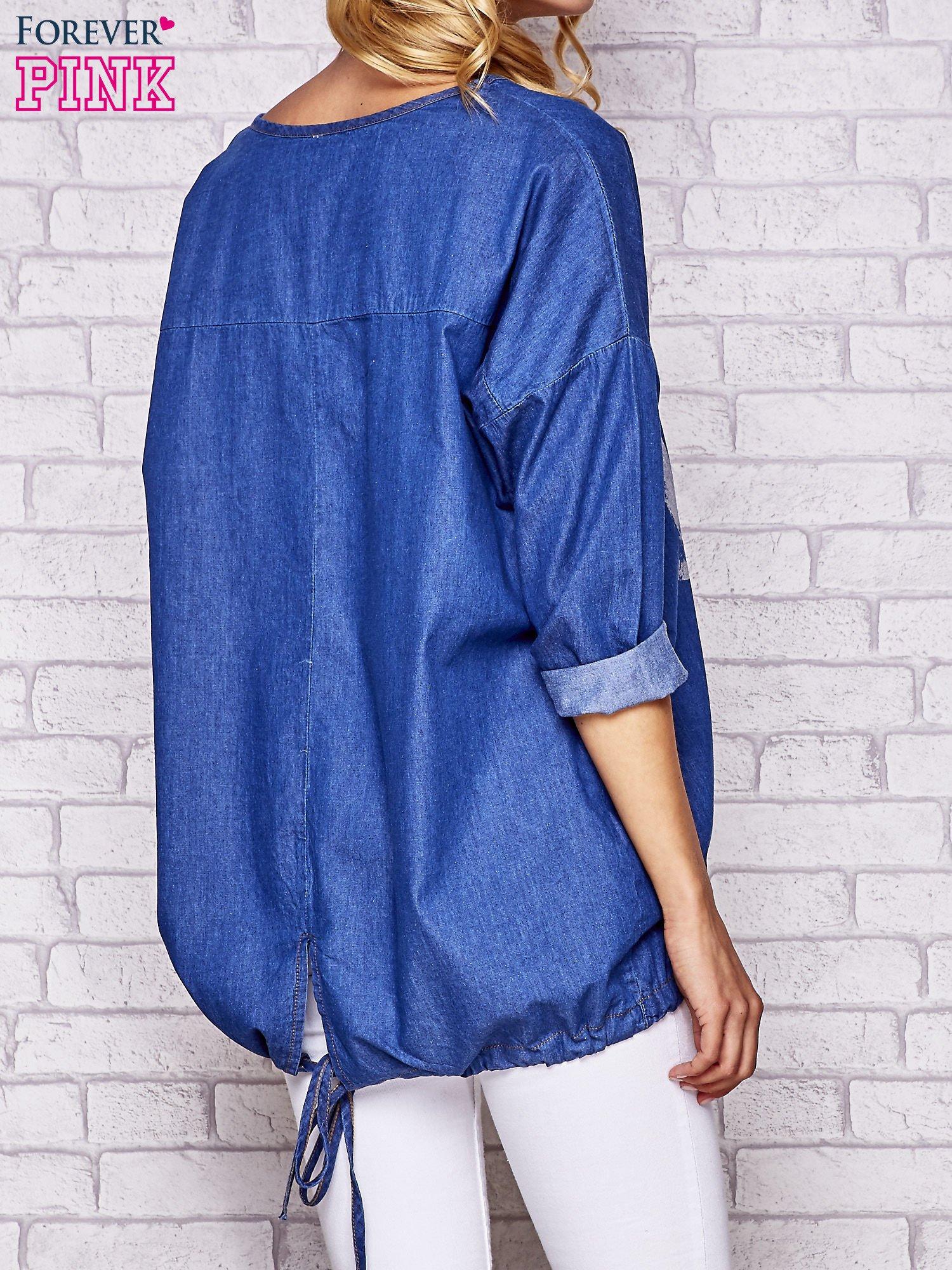 Niebieska jeansowa tunika ze sznureczkiem                                  zdj.                                  3